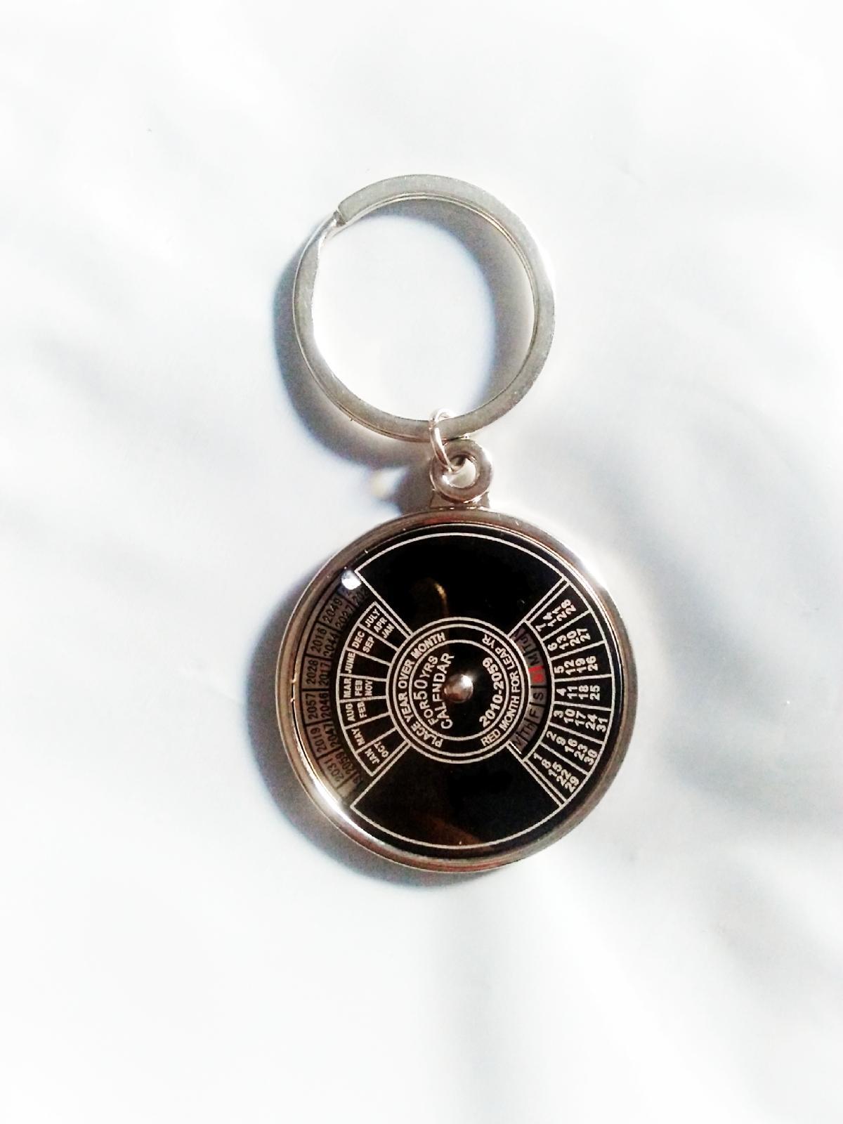 50 Years Perpetual Calendar Keychain Key Ring Metal Slim Design