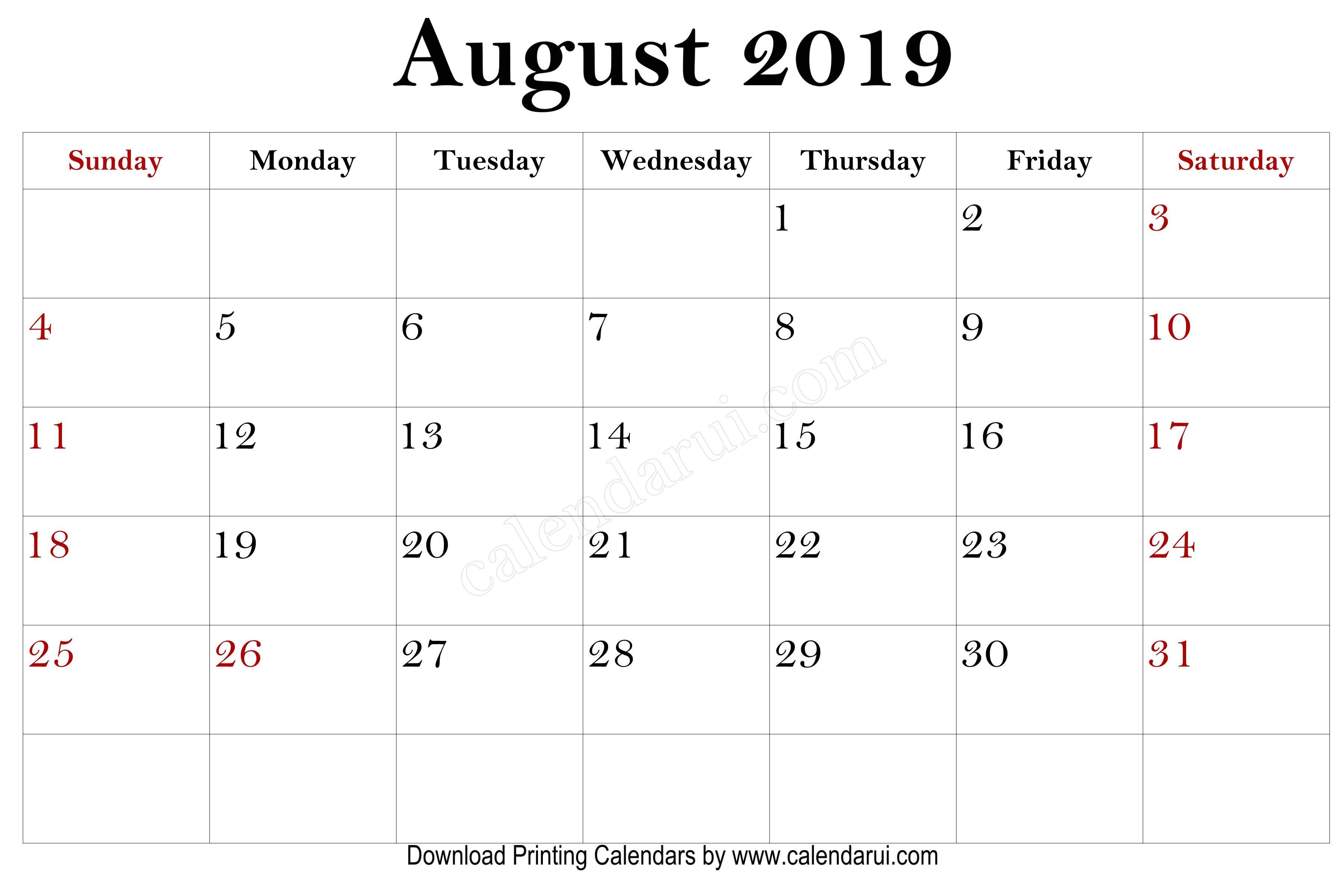 8 August Free Printable Mini 2019 Calendars In 2019