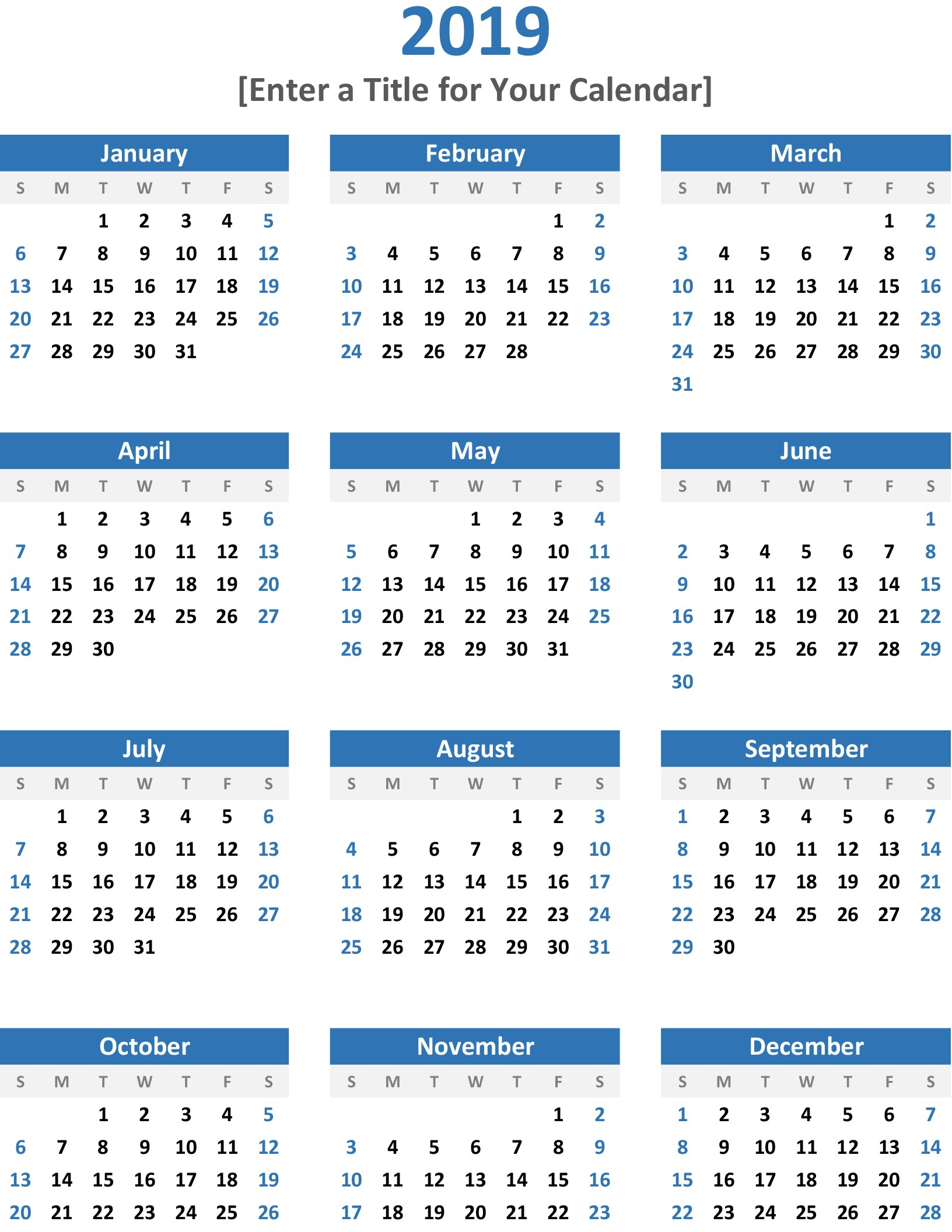 A Year At A Glance Calendar - Wpa.wpart.co