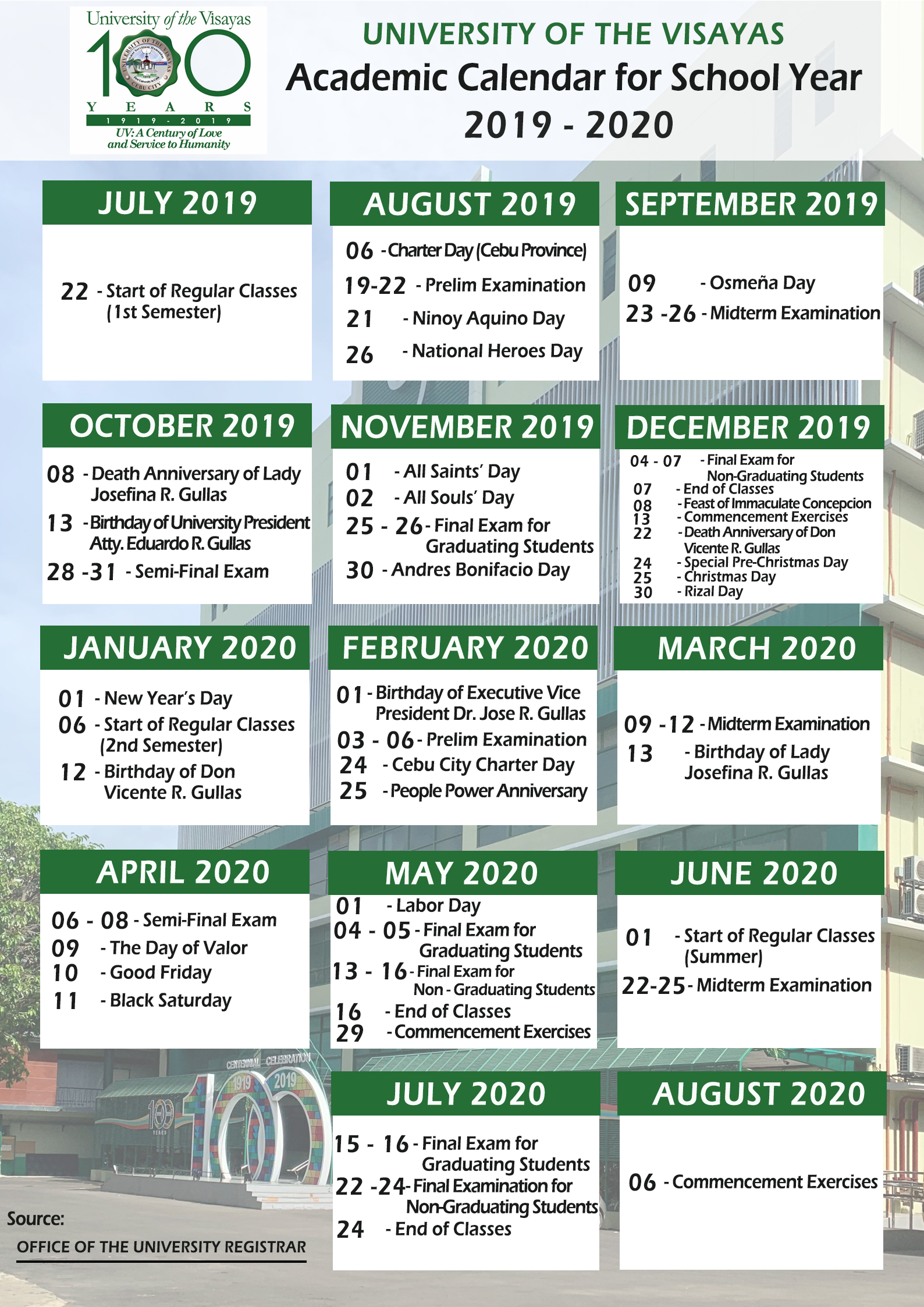 Academic Calendar For S.y 2019 – 2020 | University Of The