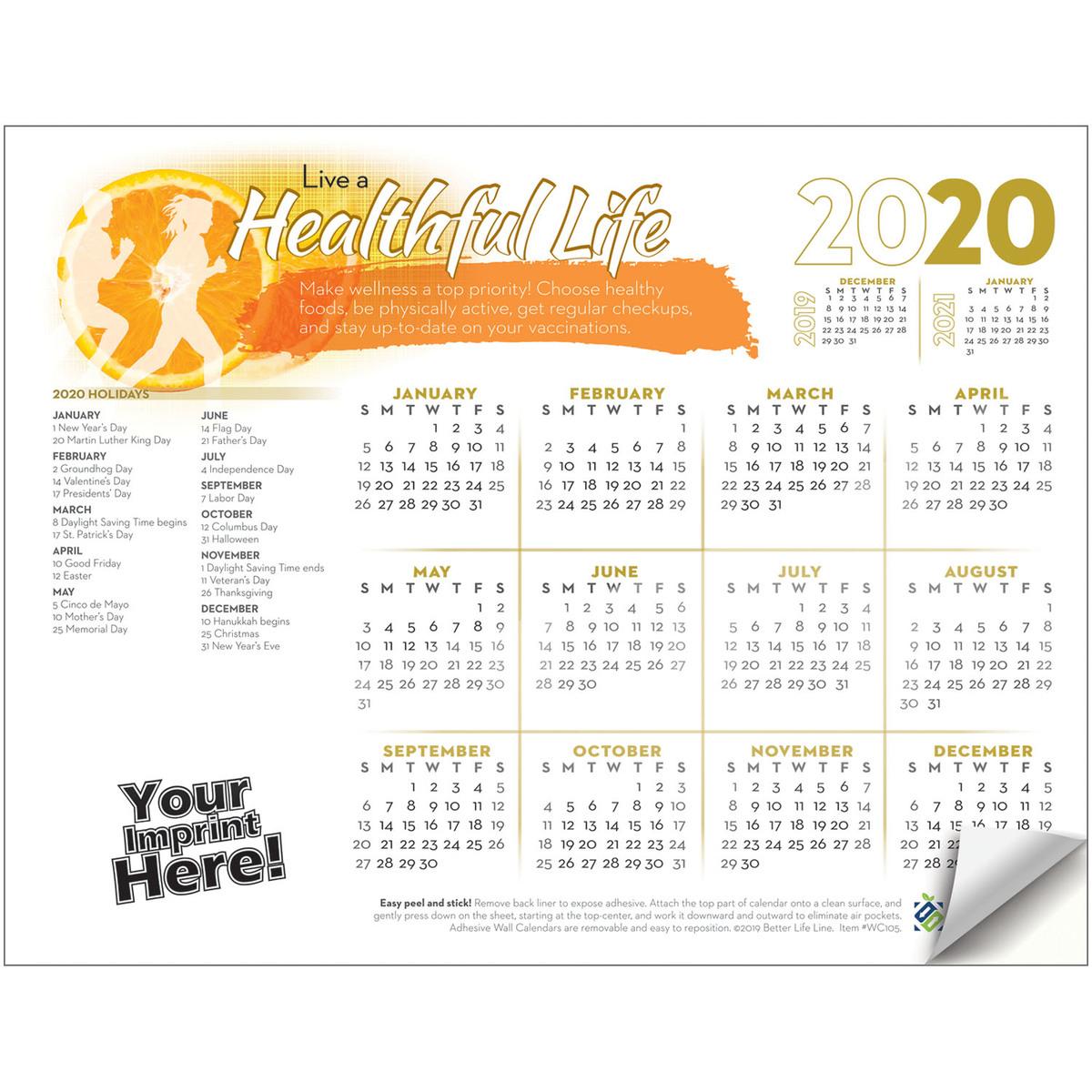 Adhesive Wall Calendar - 2020 Live A Healthful Life (Health & Wellness)
