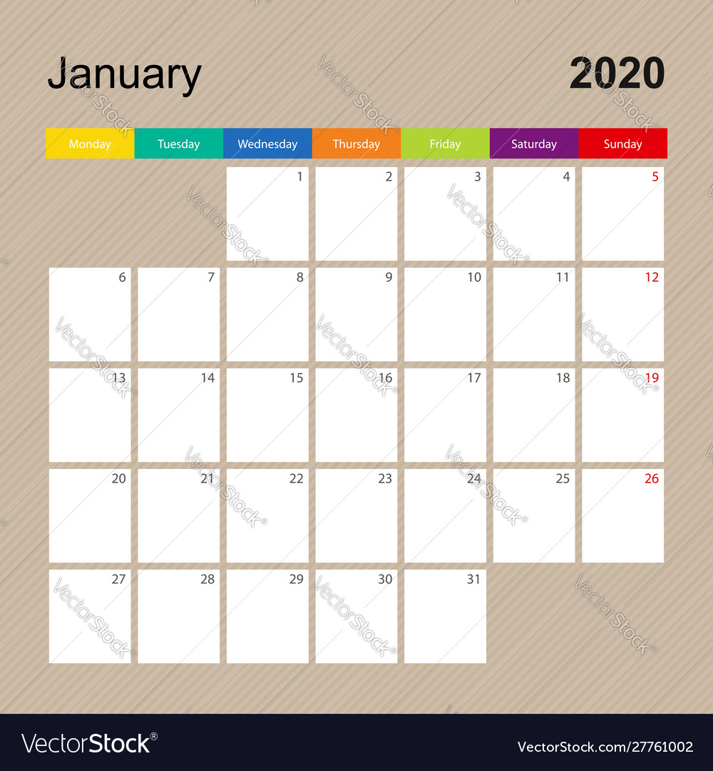 Alendar Page For January 2020 Wall Planner With