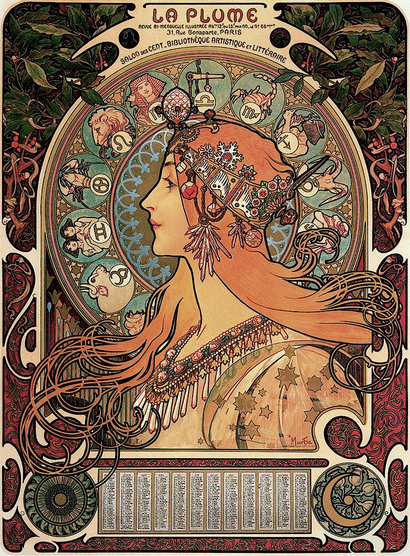 "Alphonse Mucha - Zodiac (1896) ""In This Composition, Mucha"