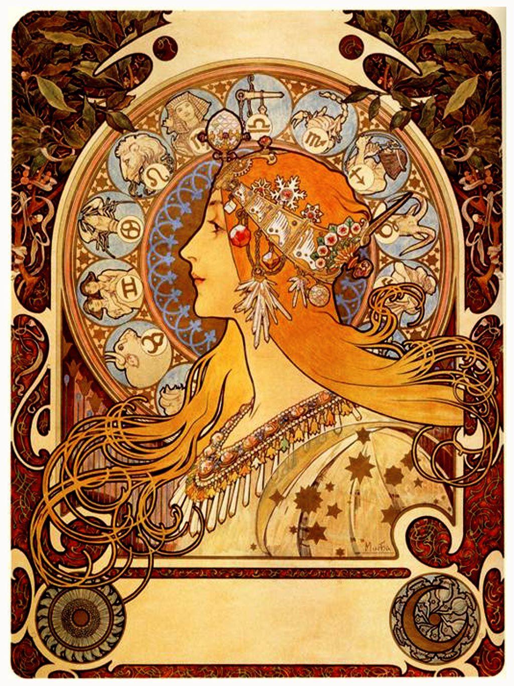 Alphonse Mucha - Zodiac | Alphonse Mucha Art, Art Nouveau