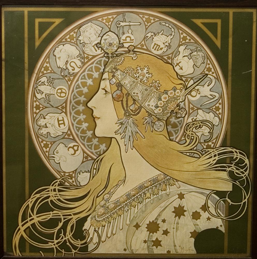 Alphonse Mucha Zodiac Poster - Ra One Film Heroine Name