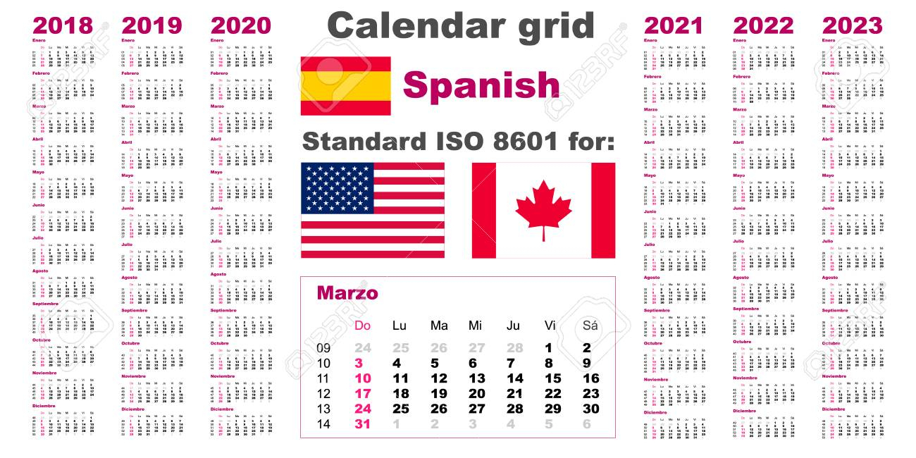 American Calendar Standard Us. Spanish Hispanic Language 2018..