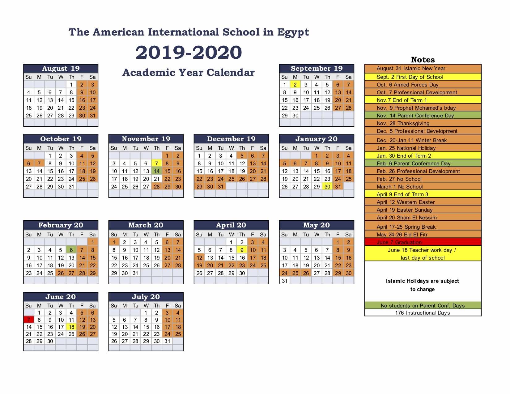 American International School Of Egypt: School Calendar