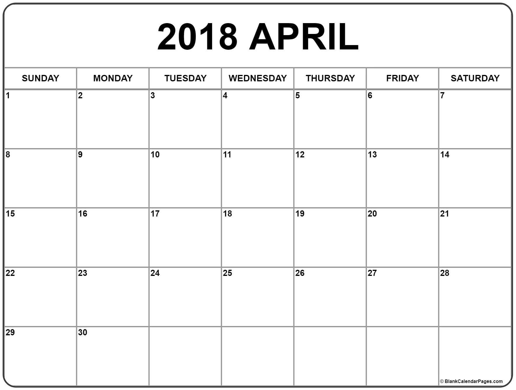 April 2018 Calendar | Free Printable Monthly Calendars