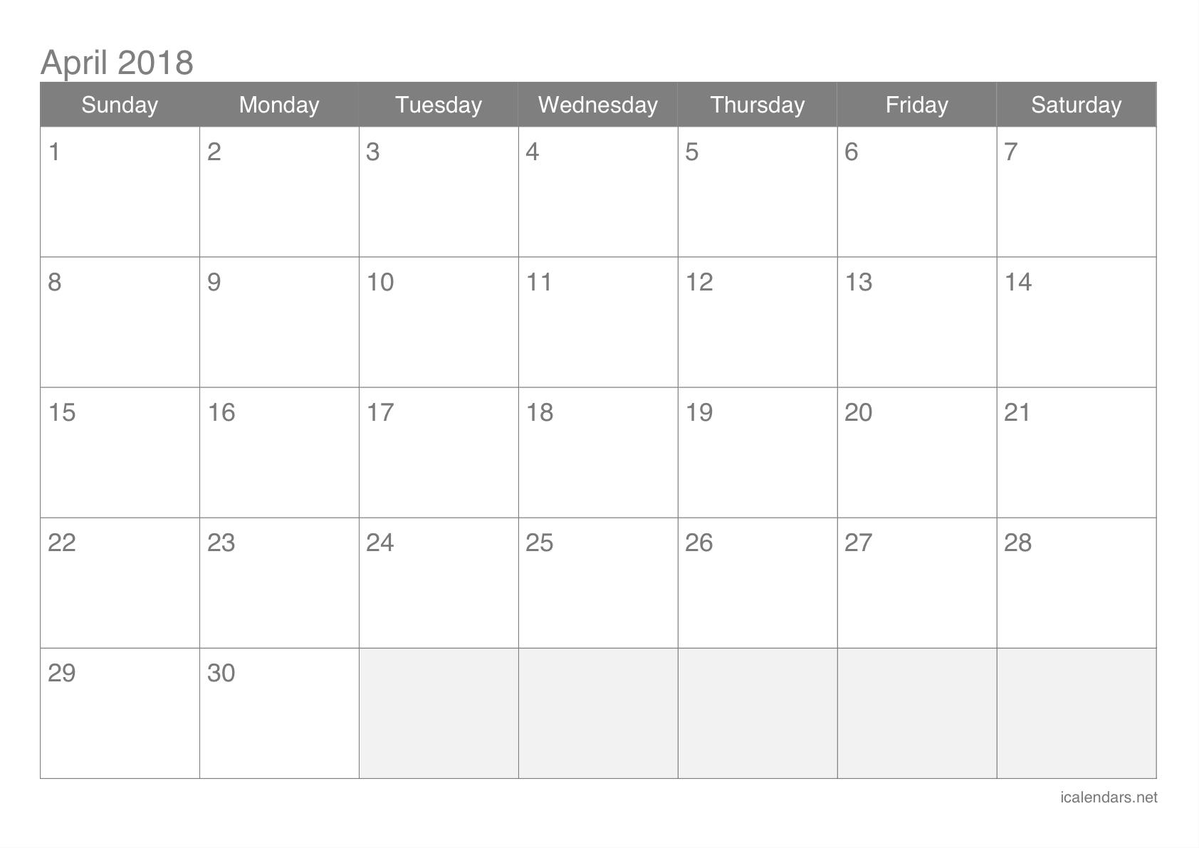 April 2018 Printable Calendar - Icalendars