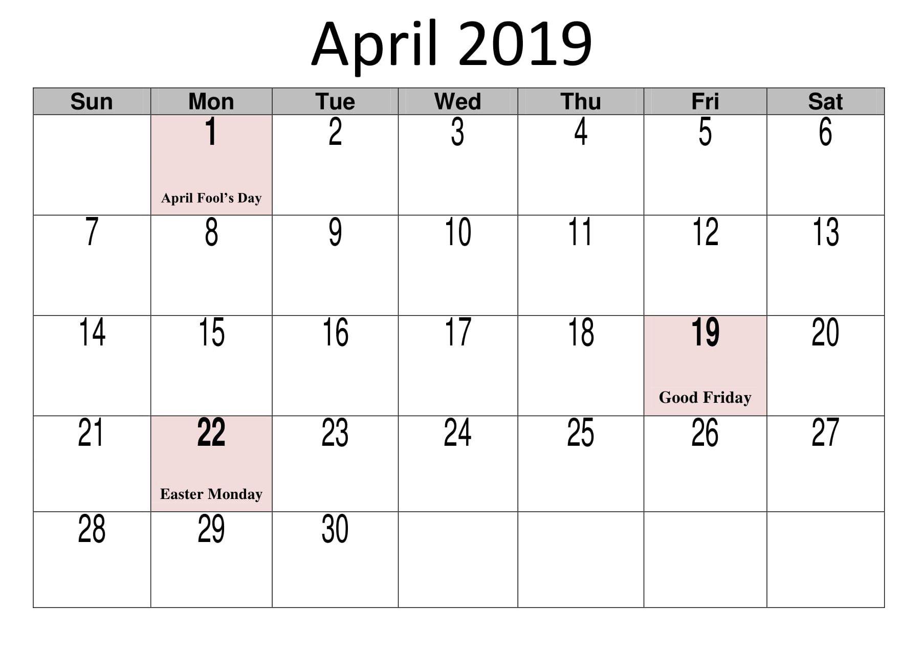 April 2019 Calendar With Holidays Template | 2019 Calendar