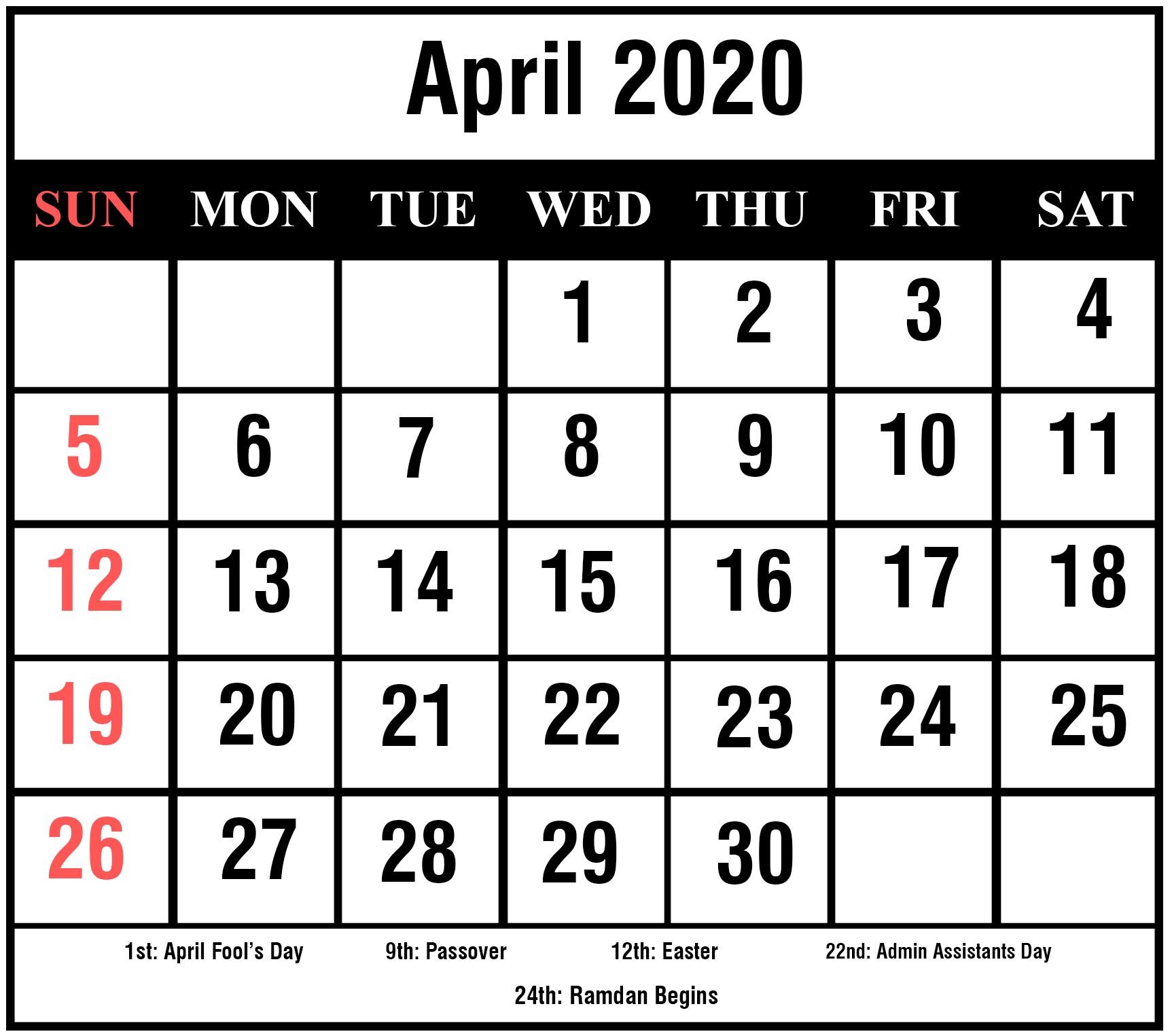 April-2020-5 | Printable Template Calendar
