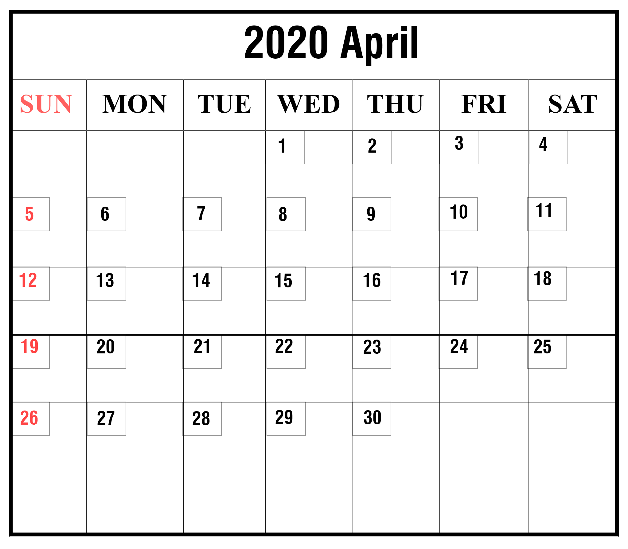April-2020-9 | Printable June Calendar Template