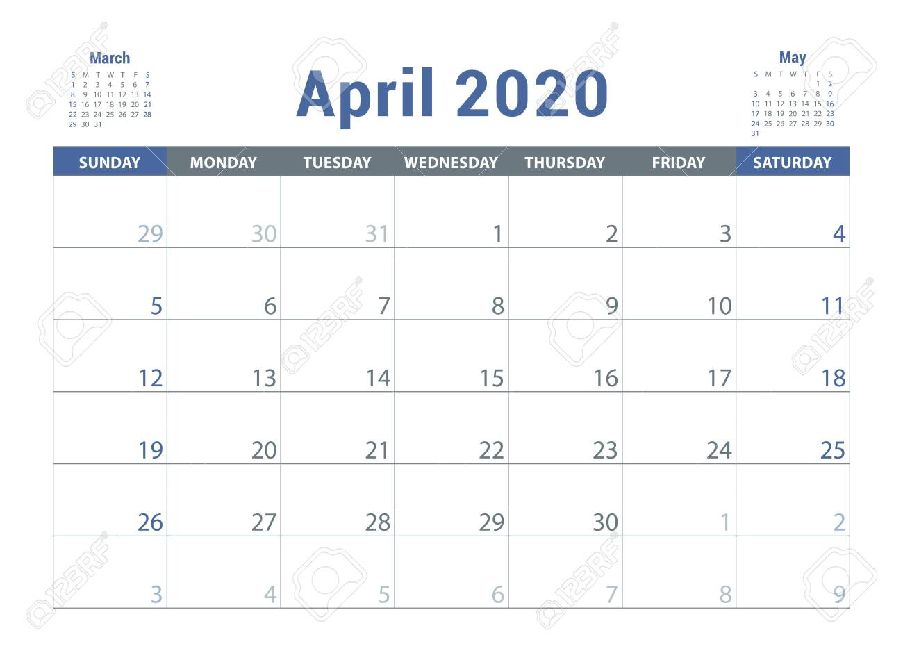 April 2020 Calendar. English Planner. Ð¡olor Vector Template. Week Starts  On Sunday. Business Planning. New Year Calender. Clean Minimal Table.  Simple