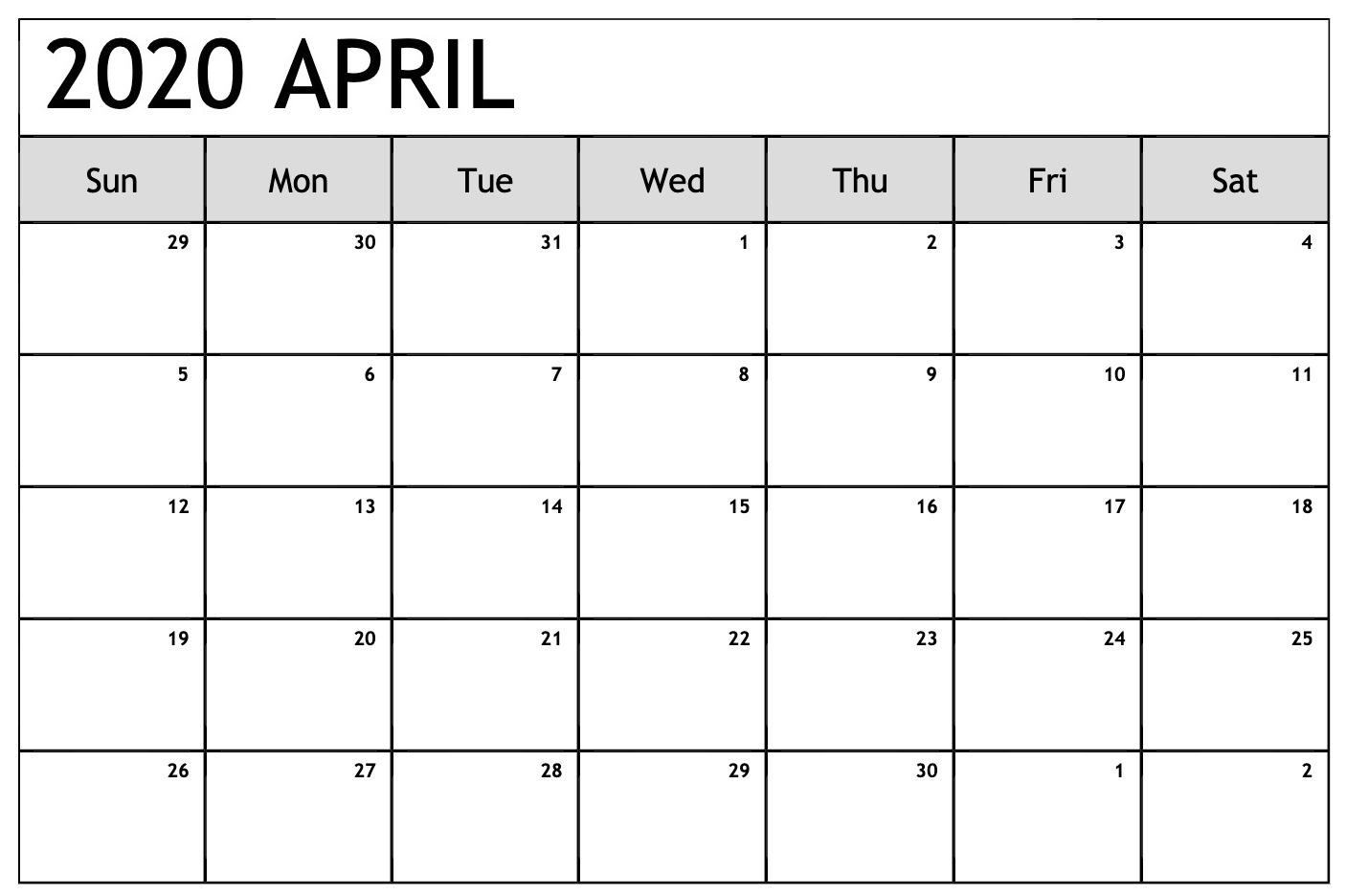 April 2020 Calendar Excel Sheet | Free Printable Calendar