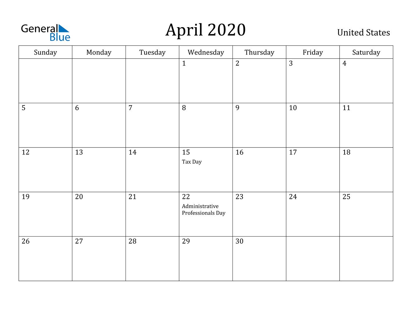 April 2020 Calendar - United States