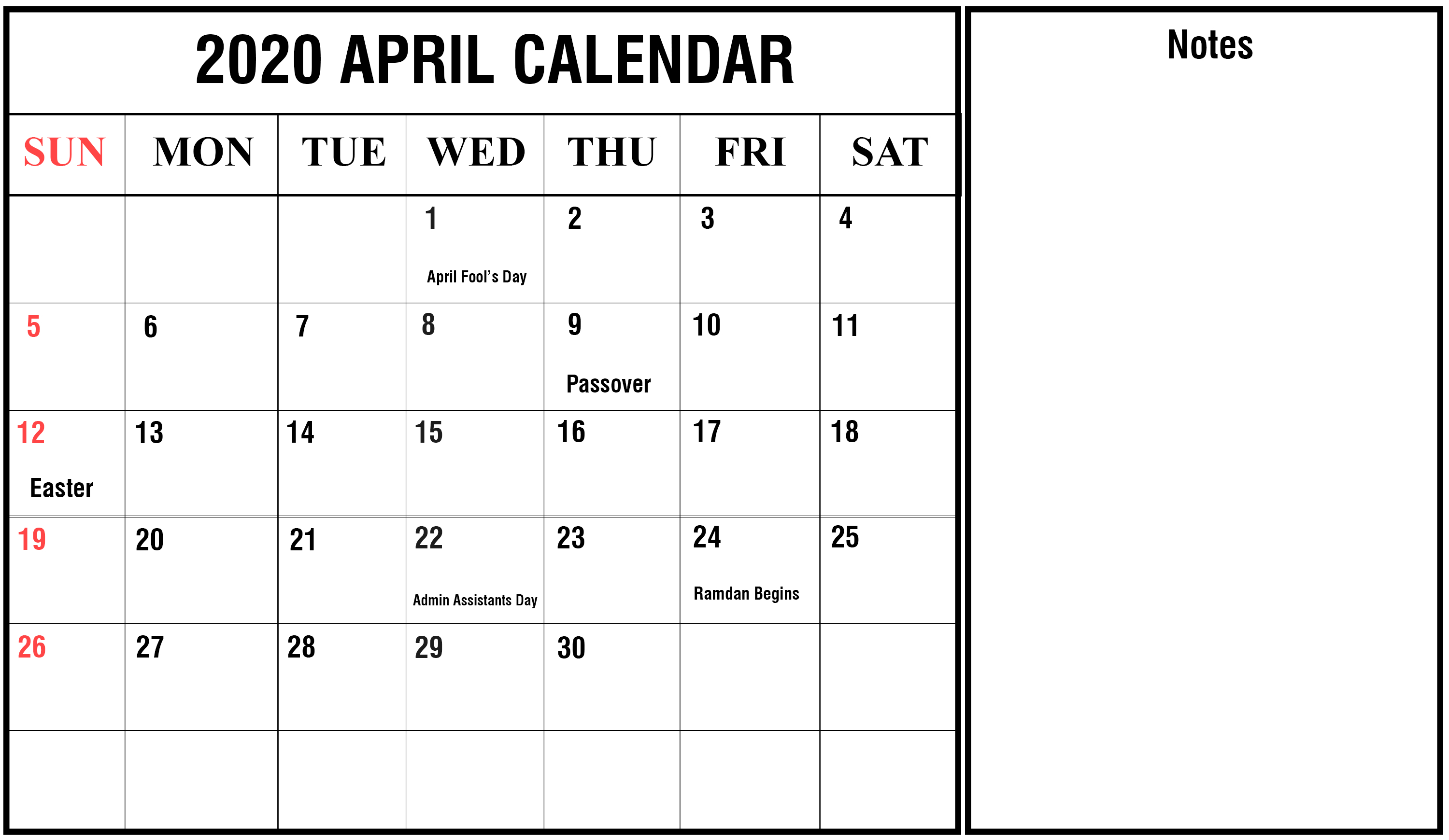 April 2020 Calendar With Holidays | Free Printable Calendar