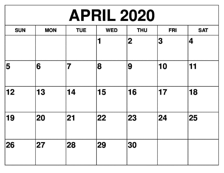 April 2020 Printable Calendar - Auntyno 1 - Medium