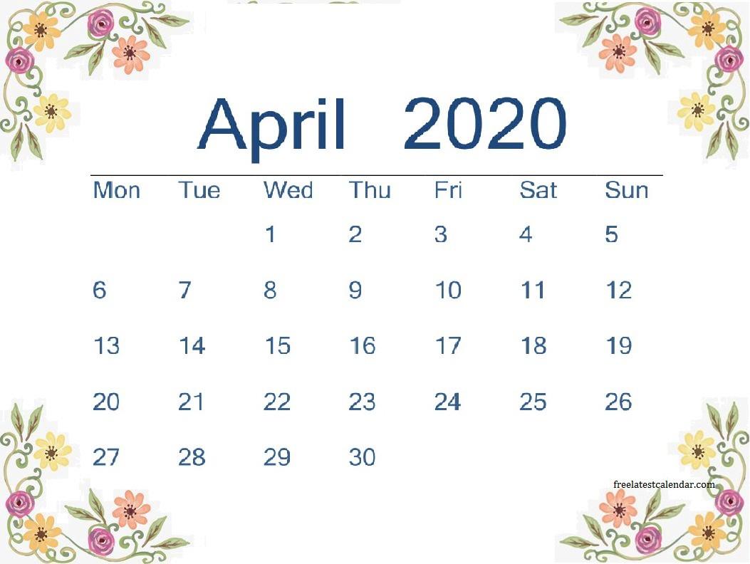 April 2020 Printable Calendar - Freelatest Calendar - Medium