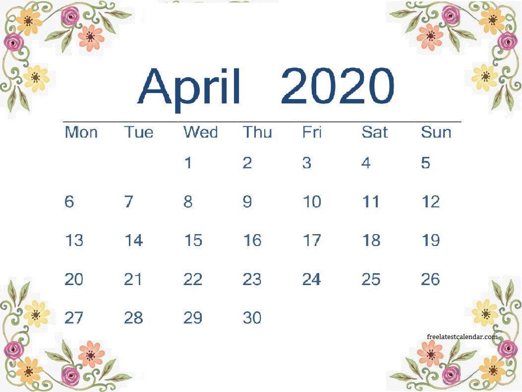 April 2020 Printable Calendar - Freelatest Calendar - Medium