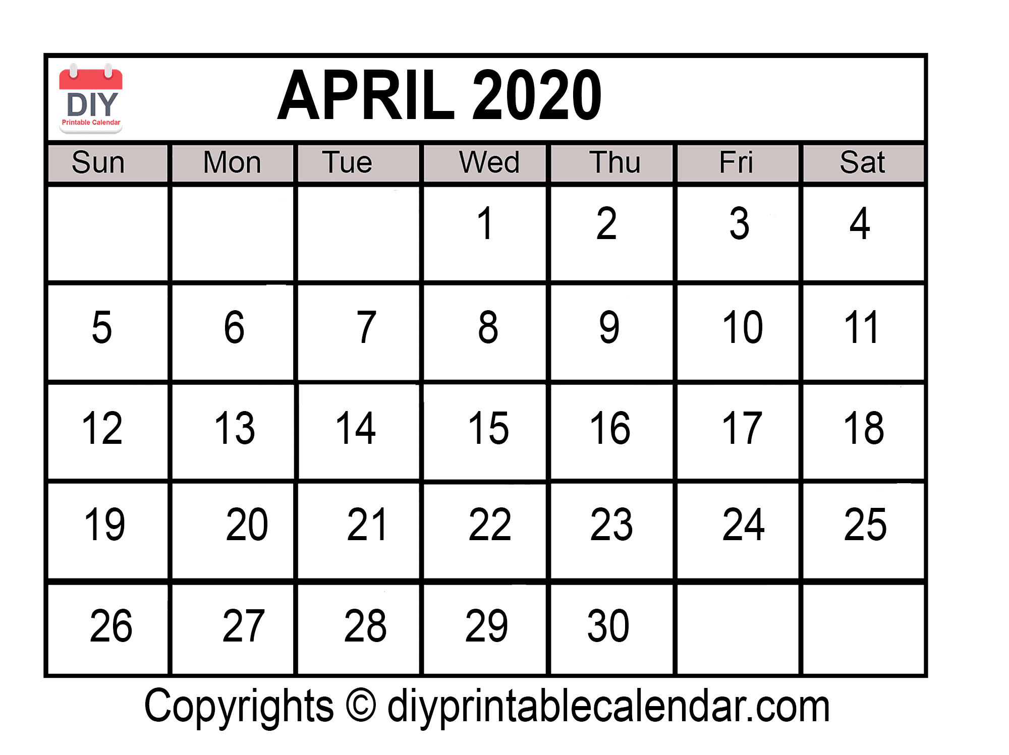 April 2020 Printable Calendar Template