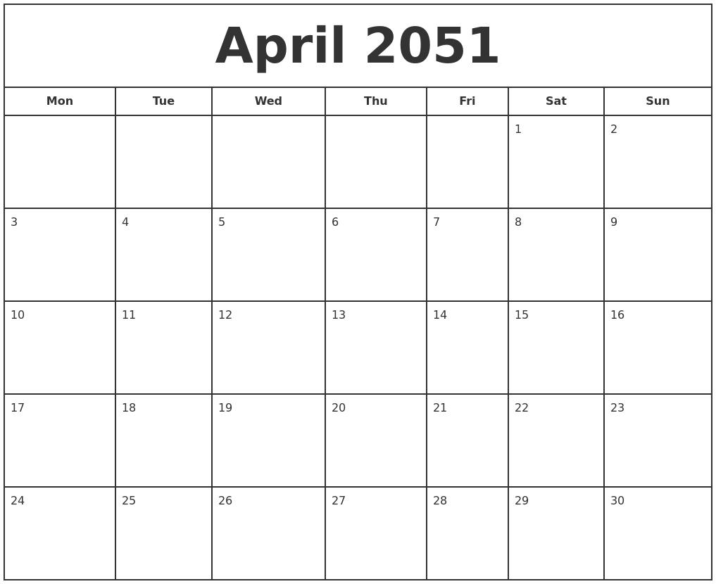 April 2051 Print Free Calendar