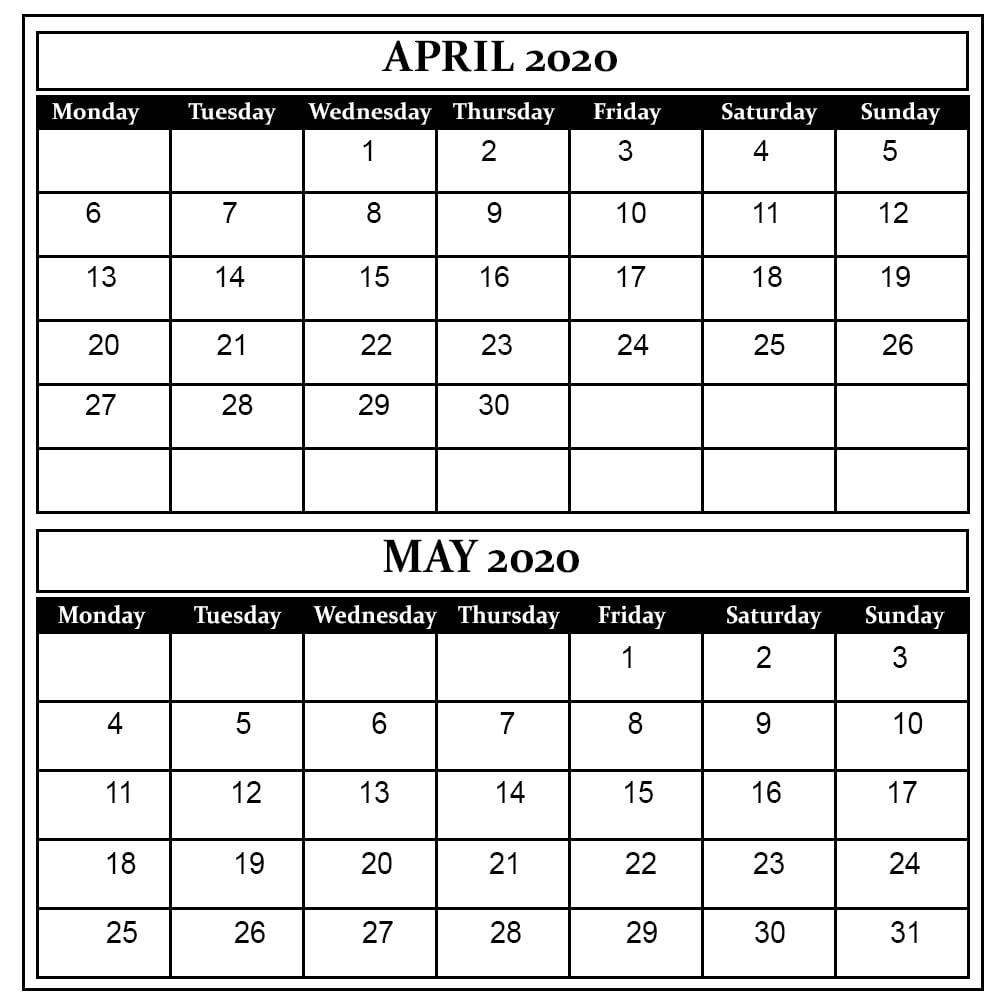 April And May 2020 Free Printable Calendar