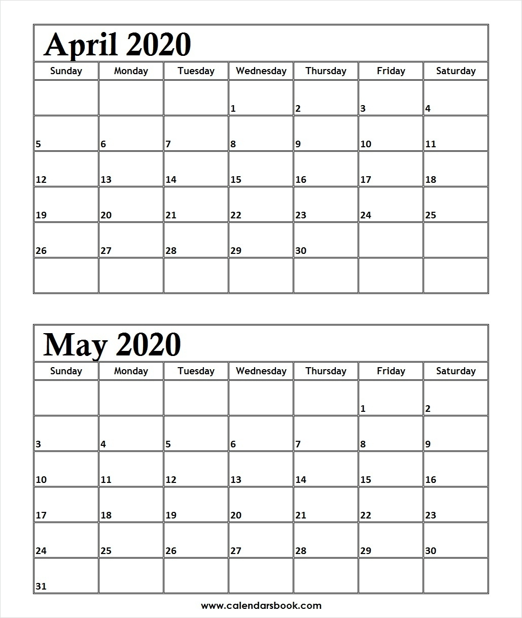 April May 2020 Calendar | Calendar Template Information