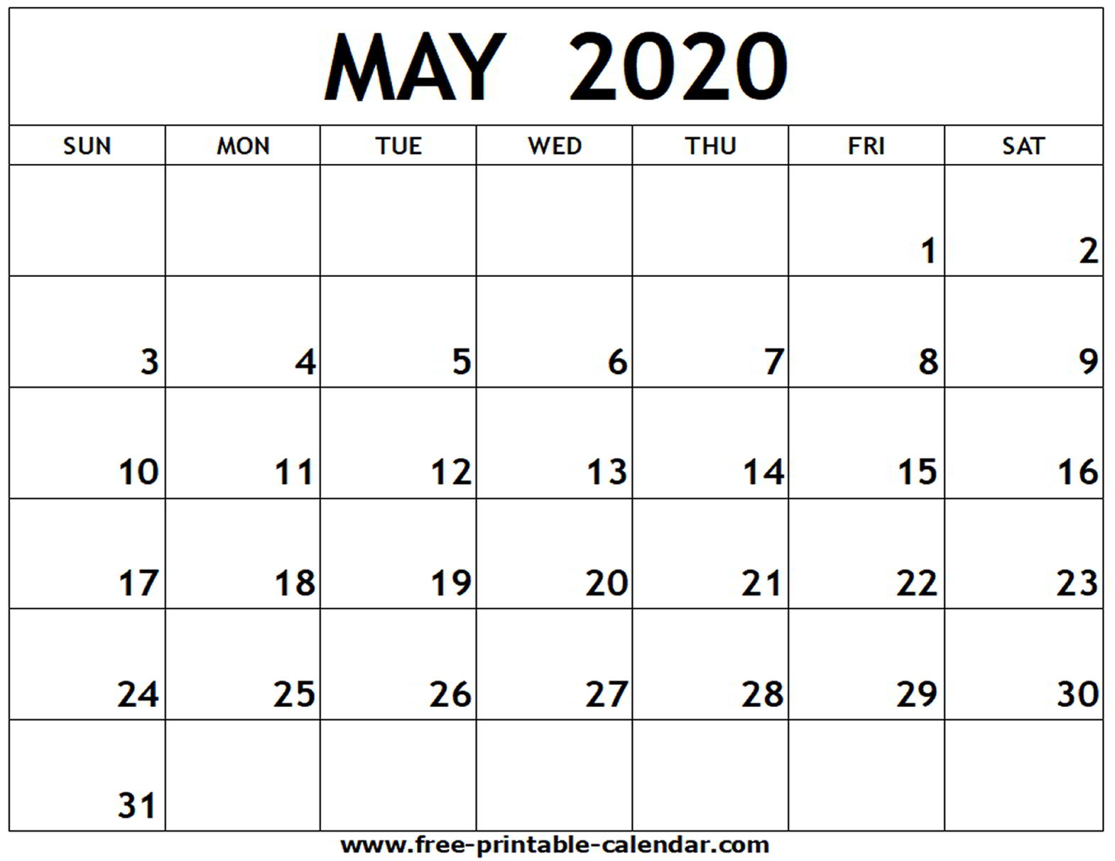 April May 2020 Calendar Printable - Wpa.wpart.co