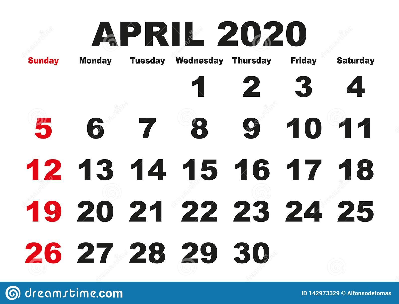 April Month Calendar 2020 English Usa Stock Vector