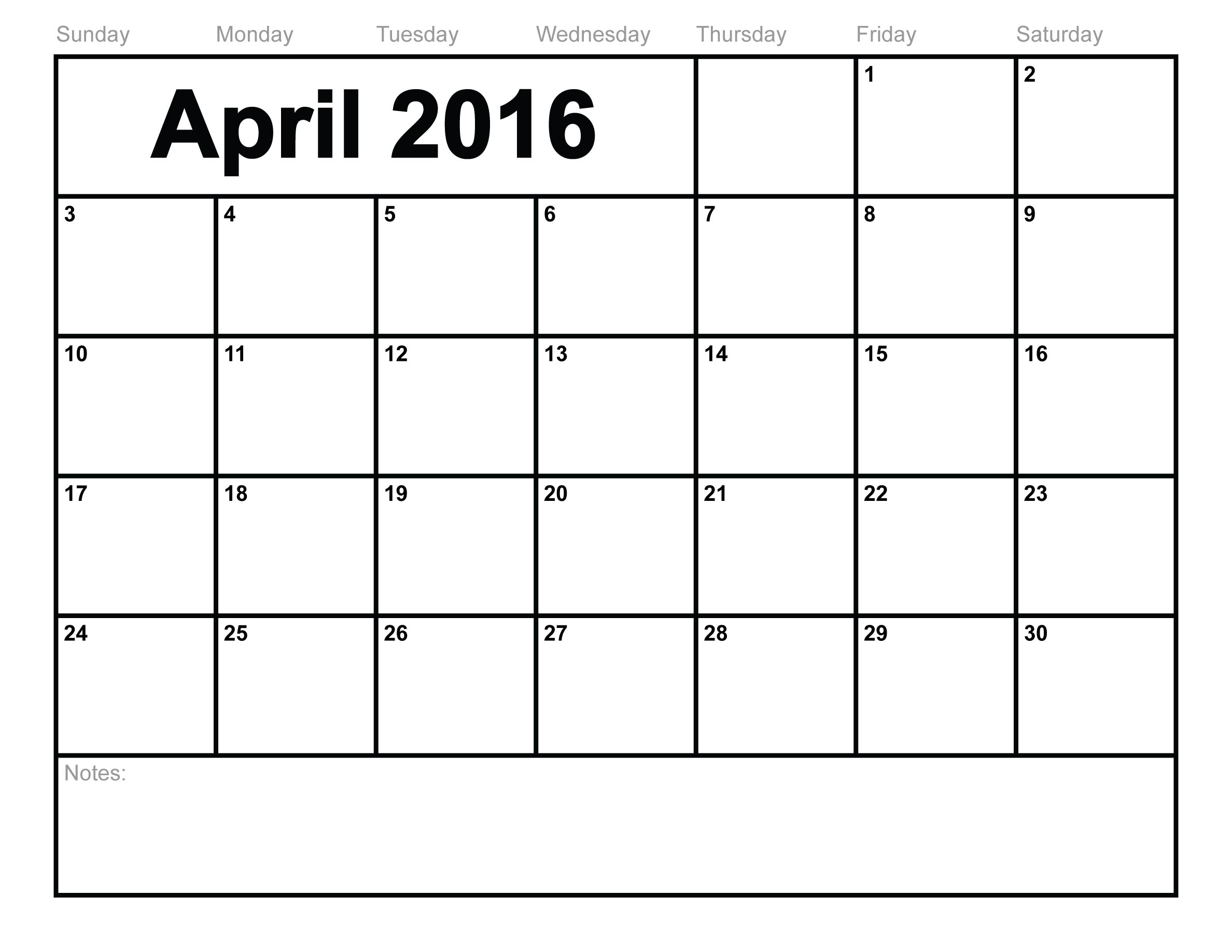 April Printable Calendar Landscape/ A4 / Portrait