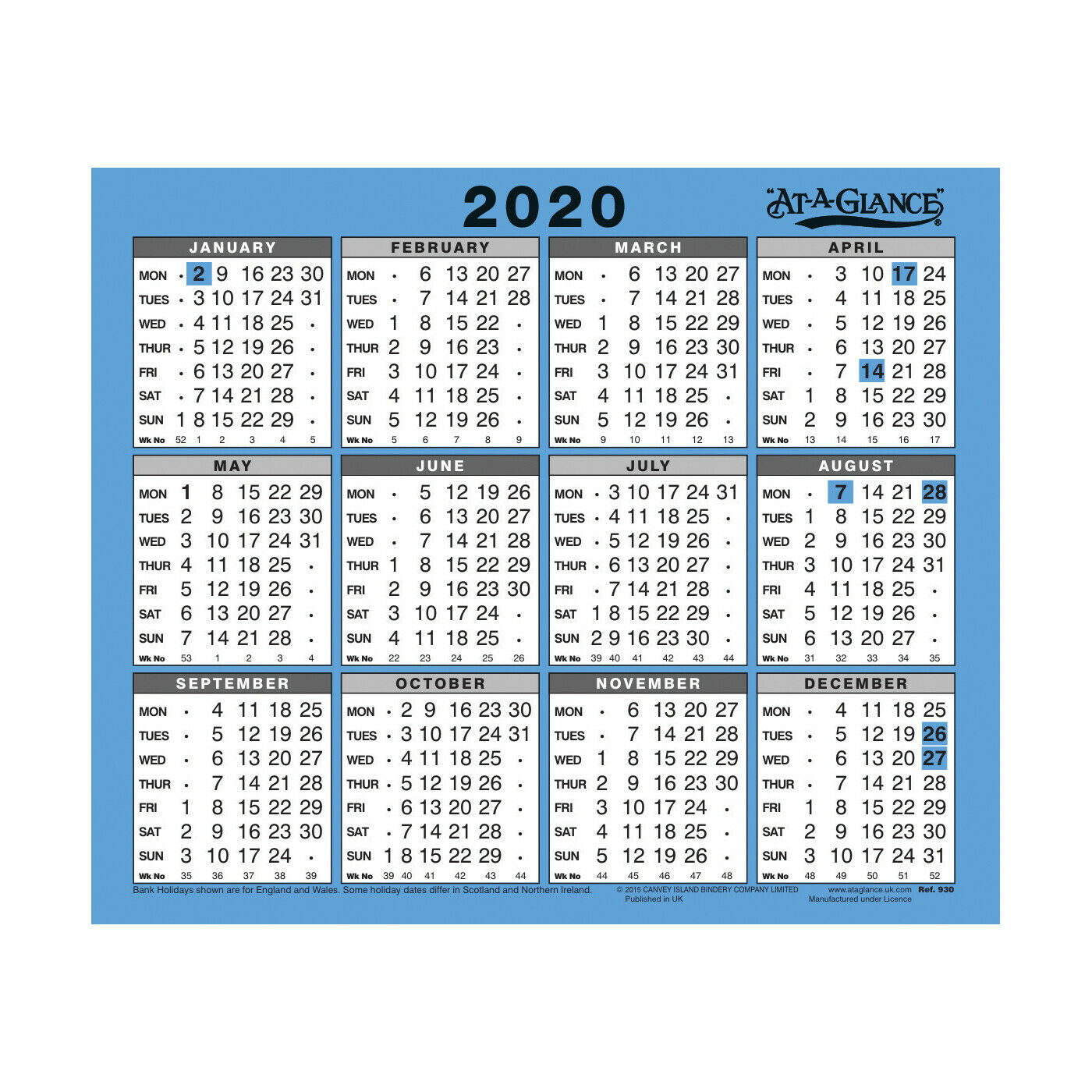 At-A-Glance 2020 Wall/desk Calendar Year To View 254X210Mm