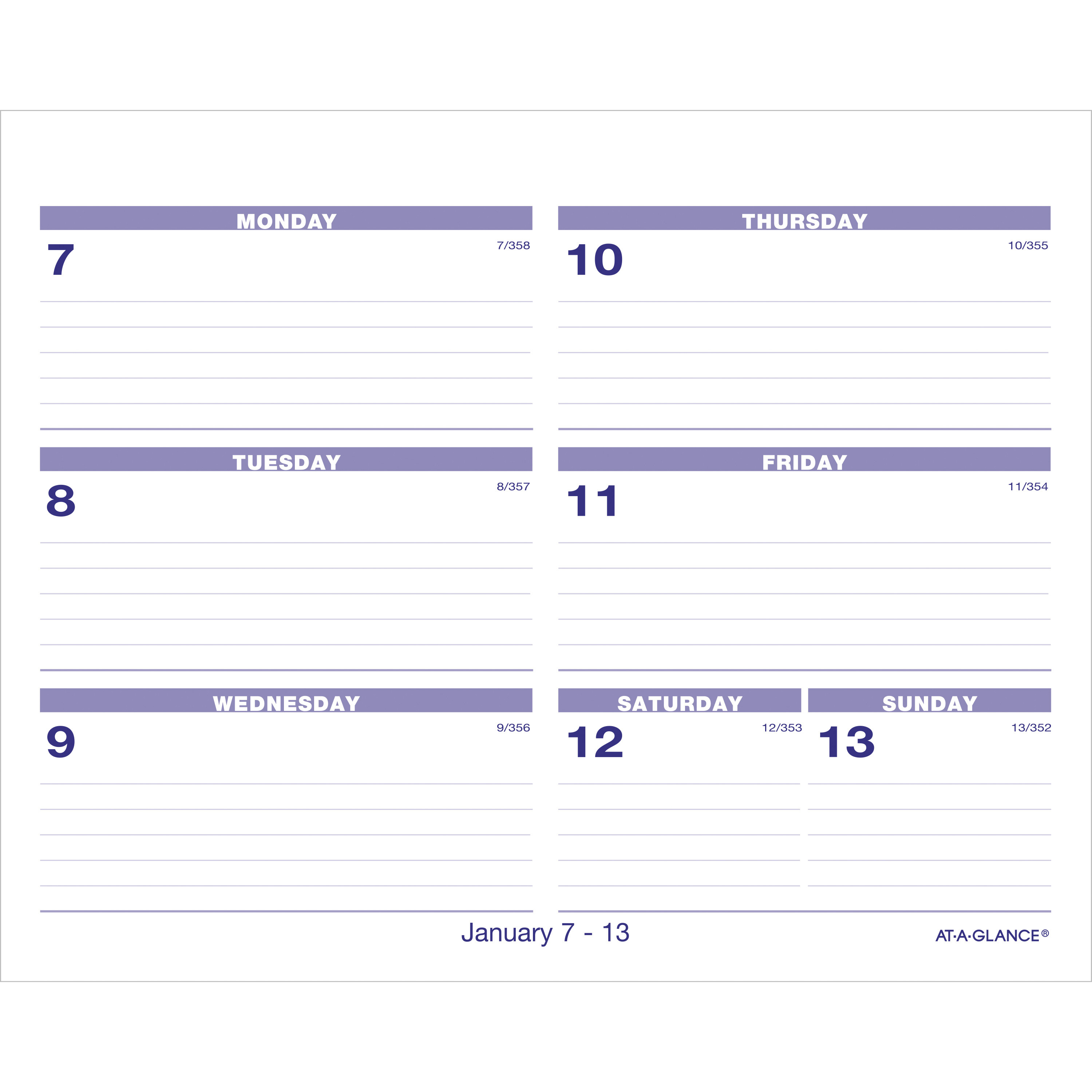 """At-A-Glance Flip-A-Week Desk Calendar Refill - Yes - Weekly - 1 Year -  January 2020 Till December 2020 - 1 Week Double Page Layout - 5 5/8"""" X 7"""" -"""
