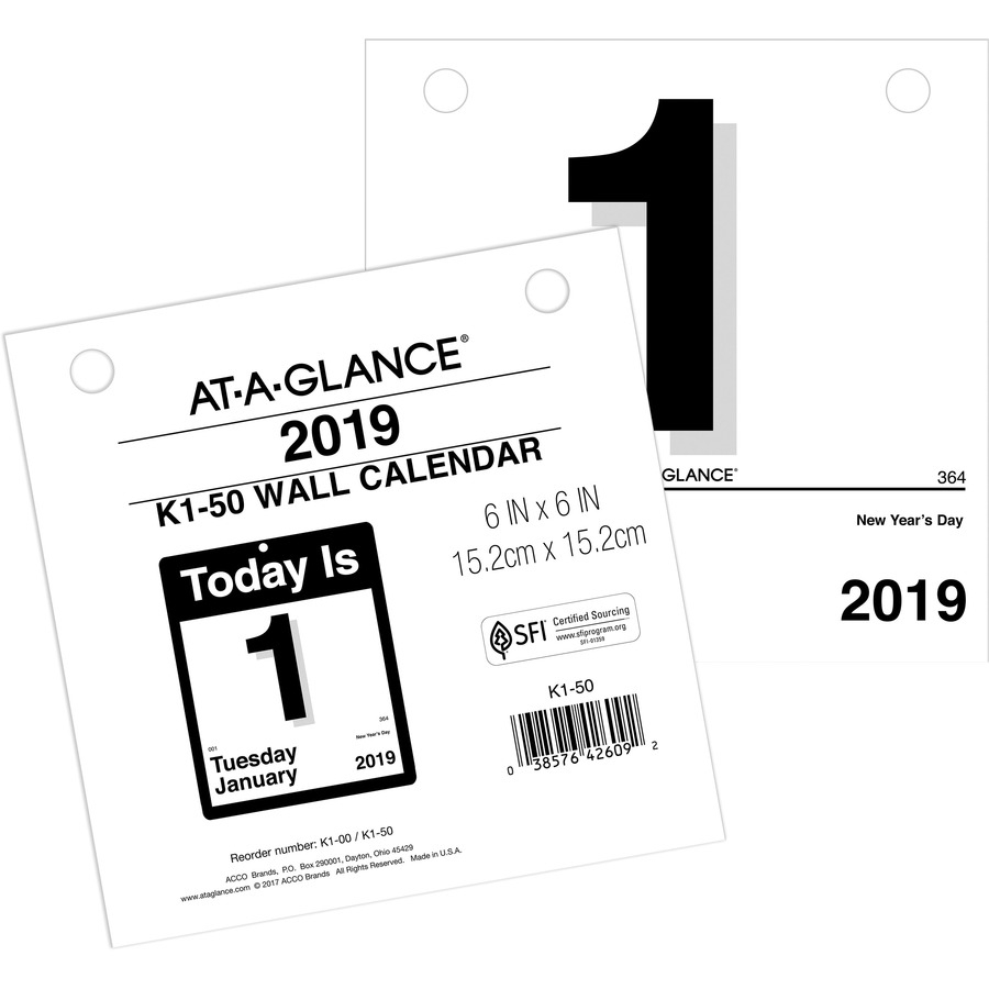 "At-A-Glance ""today Is"" Daily Wall Calendar Refill - Yes - Daily - 1 Year -  January 2020 Till December 2020 - 1 Day Single Page Layout - 6"" X 6"" - Wall"