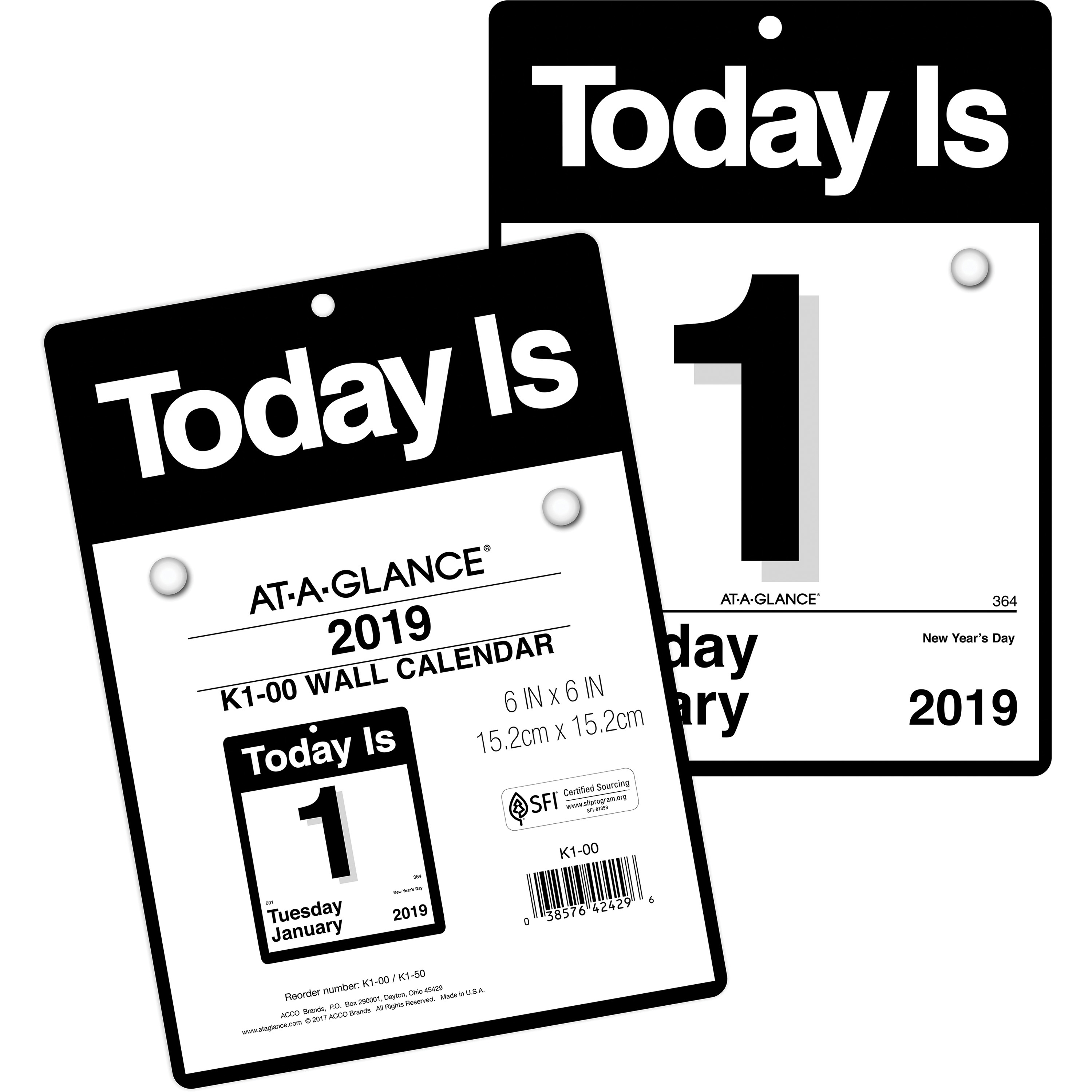 "At-A-Glance Today Is Wall Calendar - Yes - Daily - 1 Year - January 2020  Till December 2020 - 1 Day Single Page Layout - 6 5/8"" X 9 1/8"" - Wall"