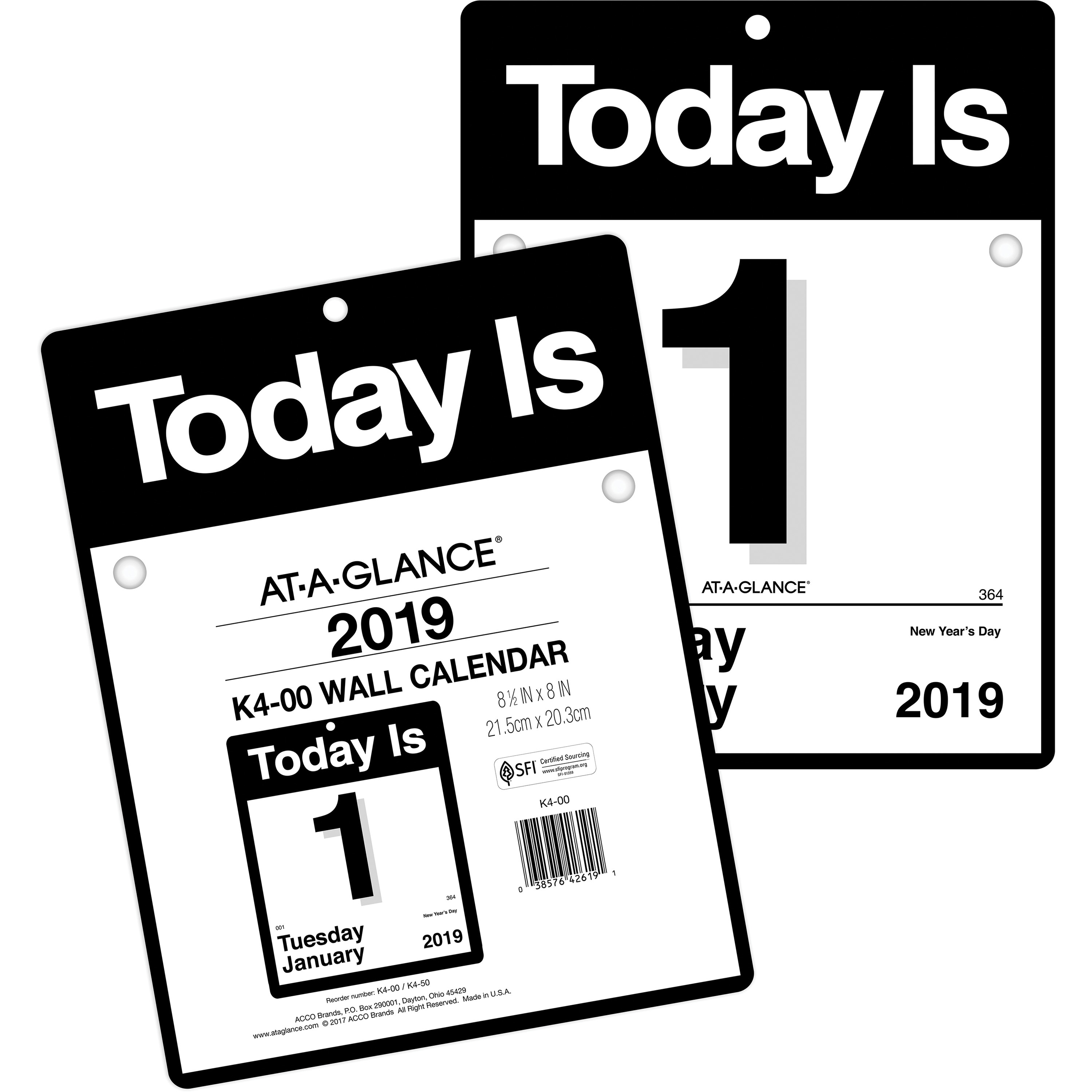 At-A-Glance Today Is Wall Calendar - Yes - Daily - 1 Year