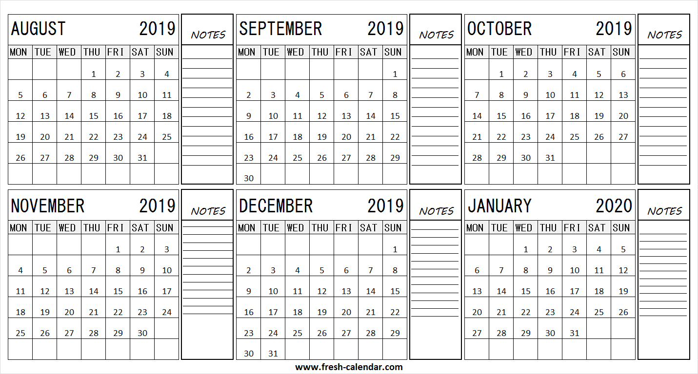 August 2019 January 2020 Half Year Calendar | 2019 Format