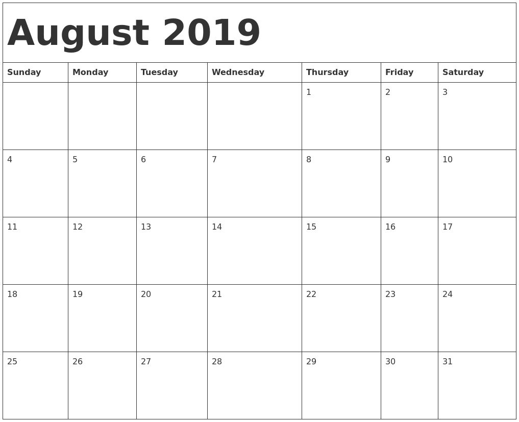 August 2019 Printable Calendar – Printable Month Calendar
