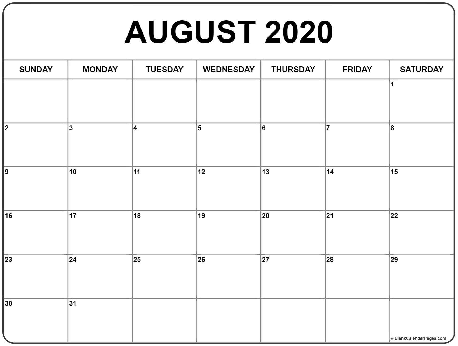 August 2020 Calendar   August Calendar, Monthly Calendar