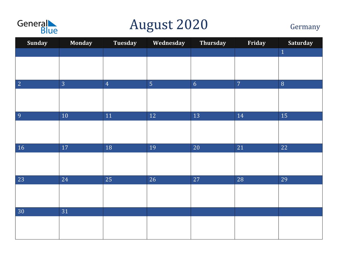 August 2020 Calendar - Germany