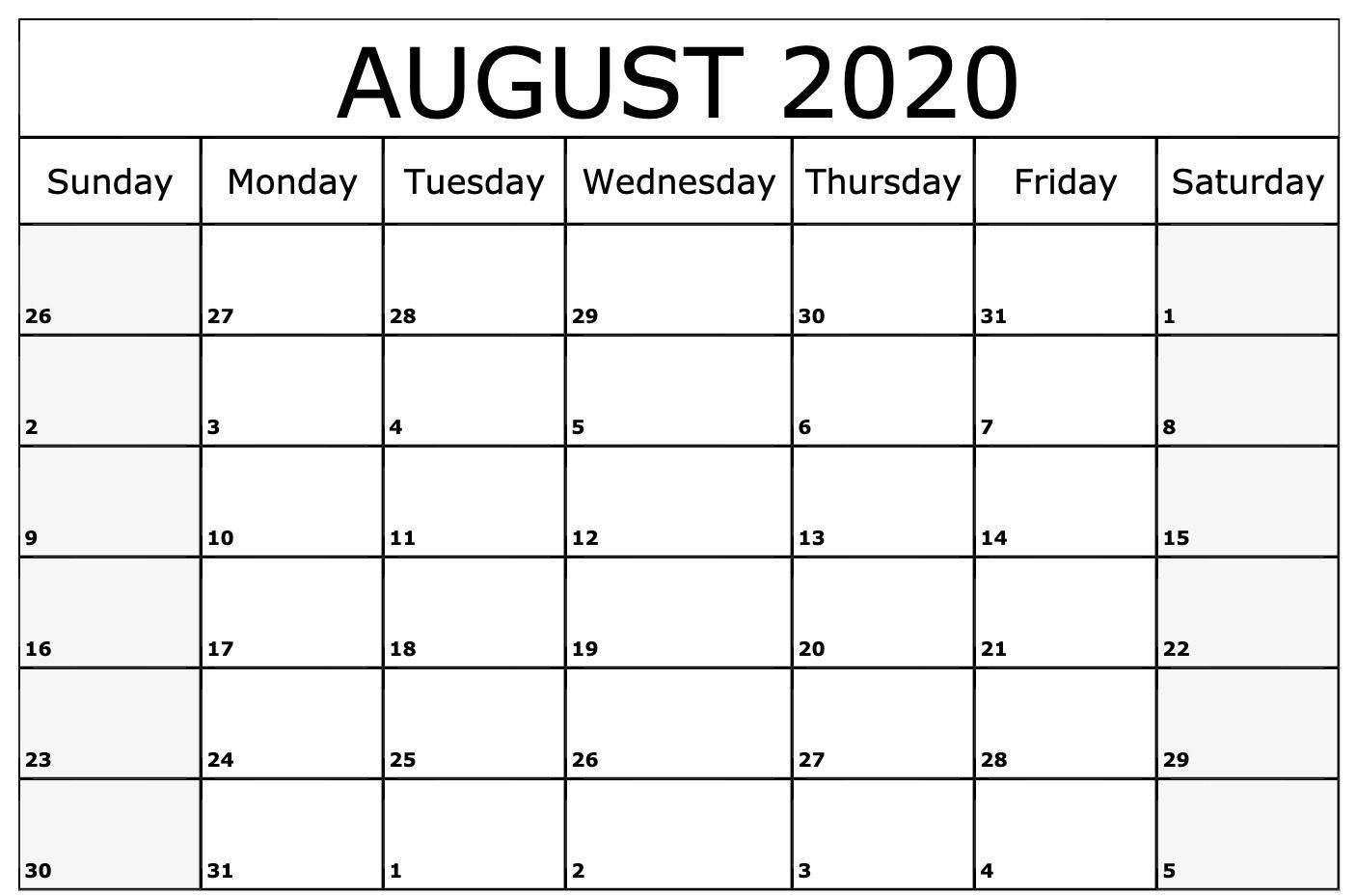 August 2020 Calendar Template | August Calendar, Blank