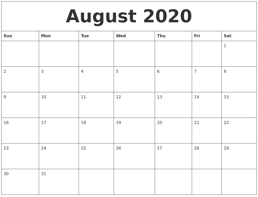 August 2020 Printable Calendar Template