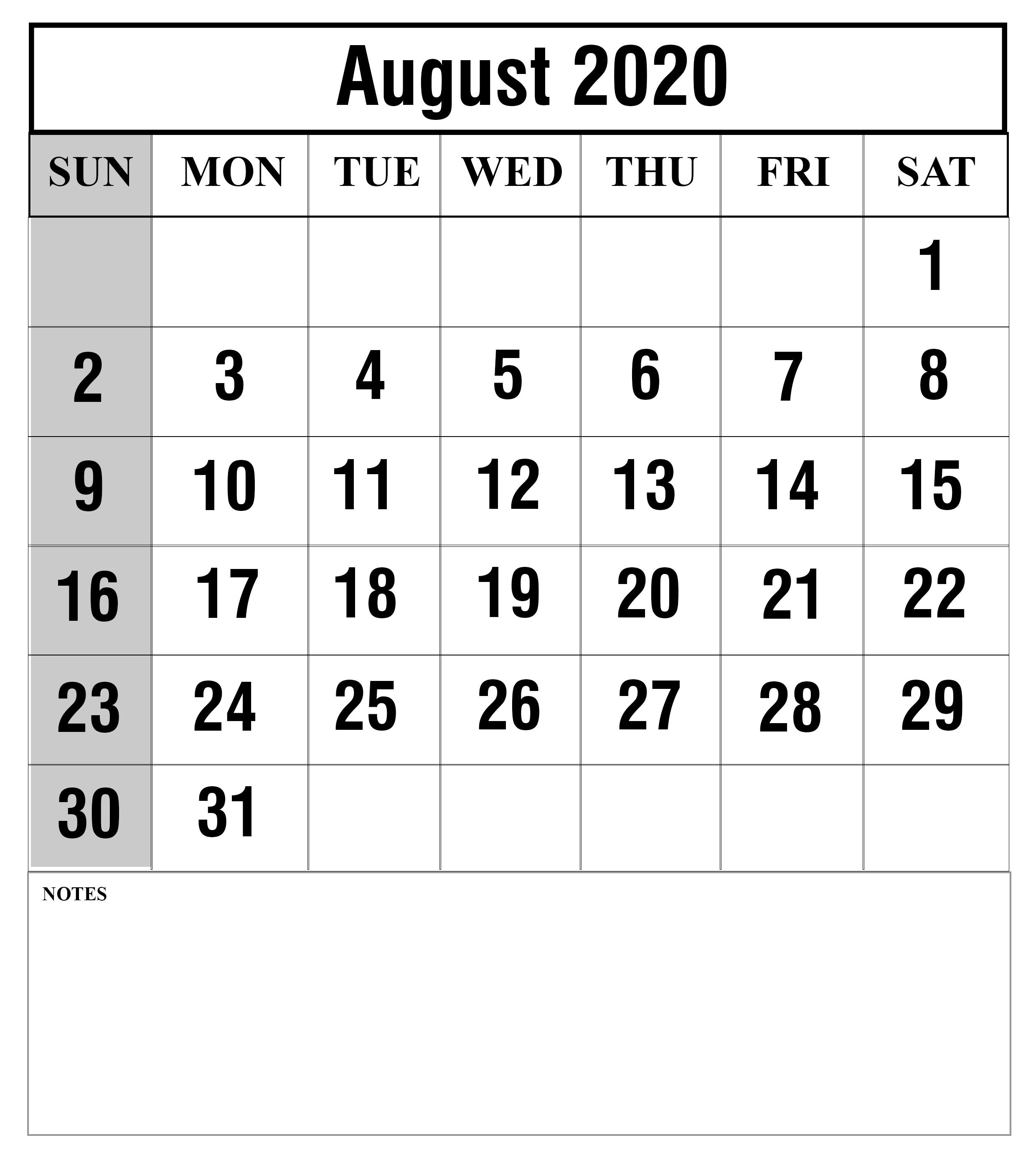 August-2020 | Printable Template Calendar