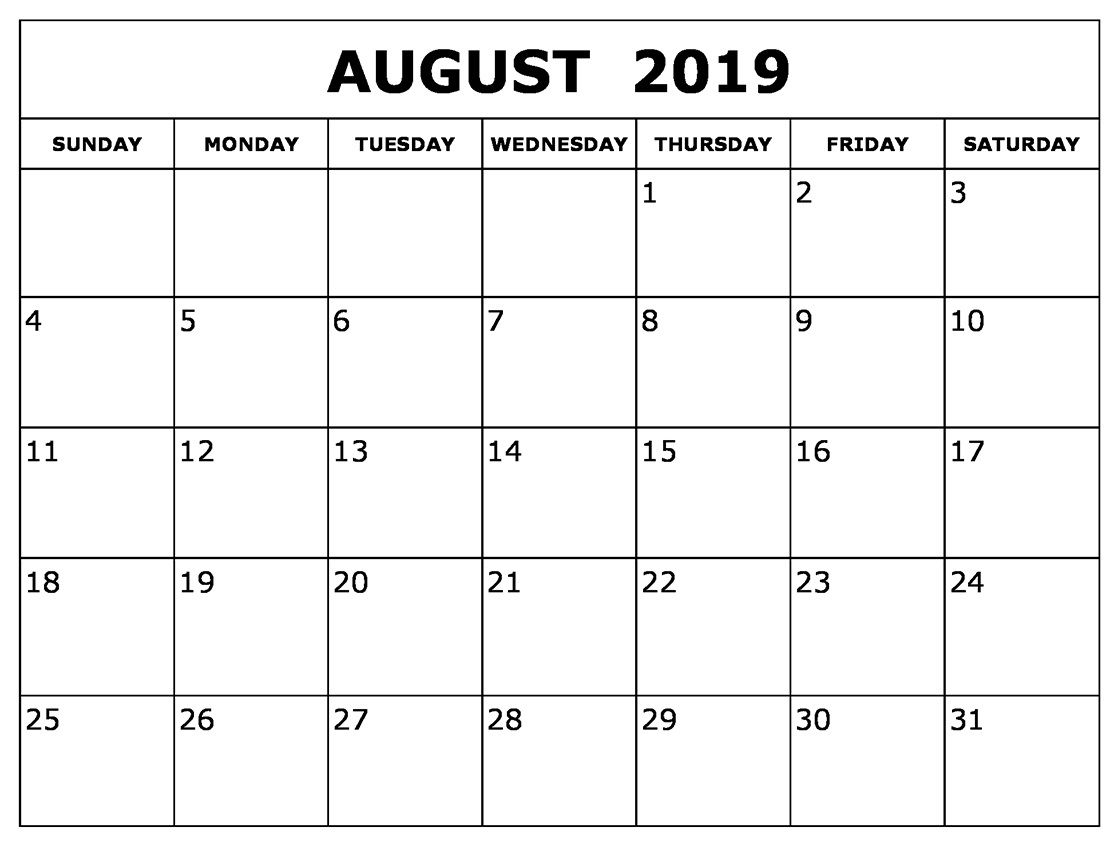 August Calendar 2019 Waterproof In 2019 | Printable Blank