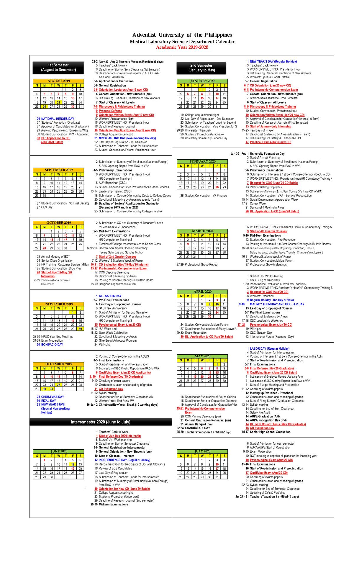 Aup Mls Academic Calendar 2019-2020 - - Studocu