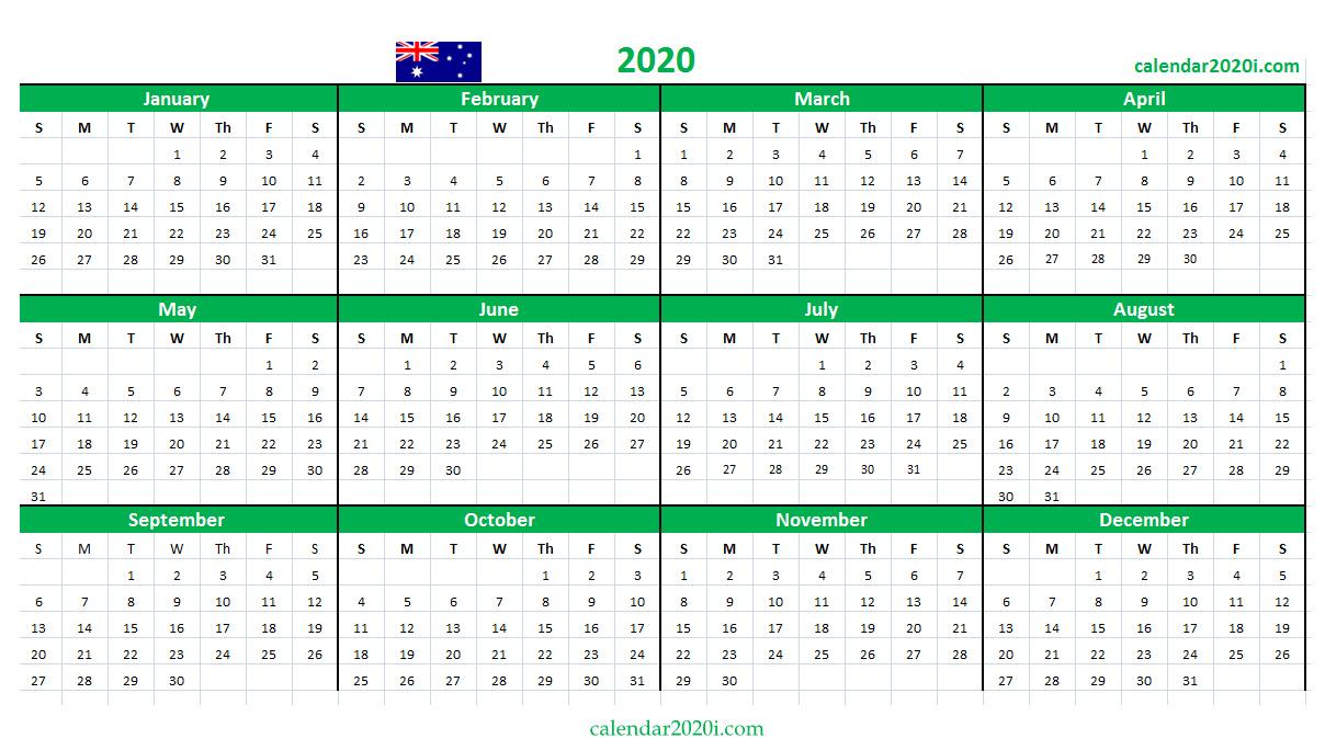 Australia 2020 Calendar Printable, Word, Excel, Holidays