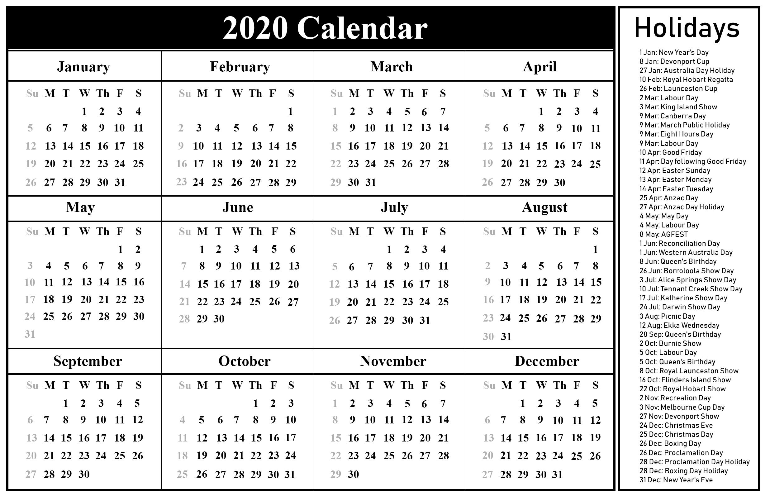 Australia 2020 Printable Calendar | Printable March Calendar