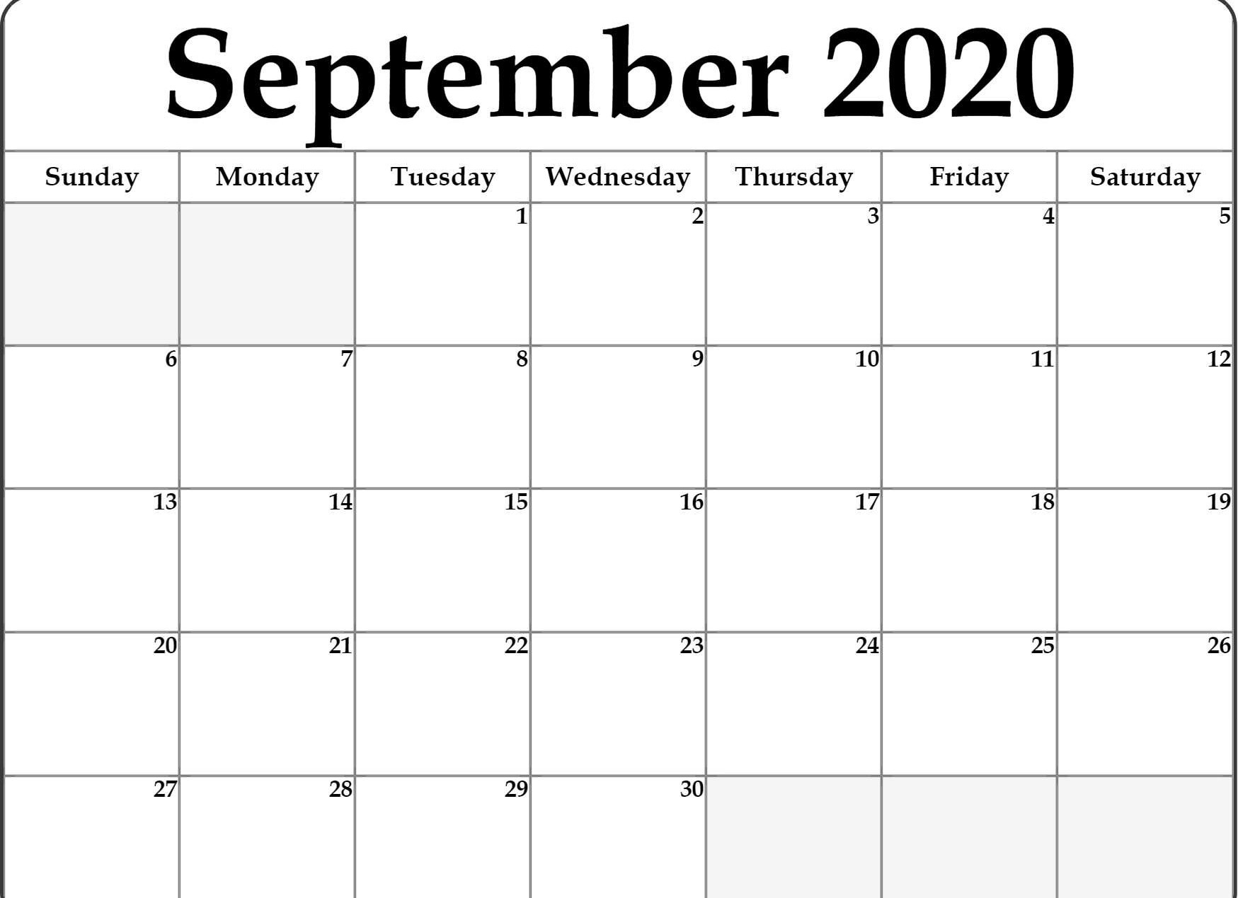 Awesome September 2020 Calendar Pdf, Word, Excel Template