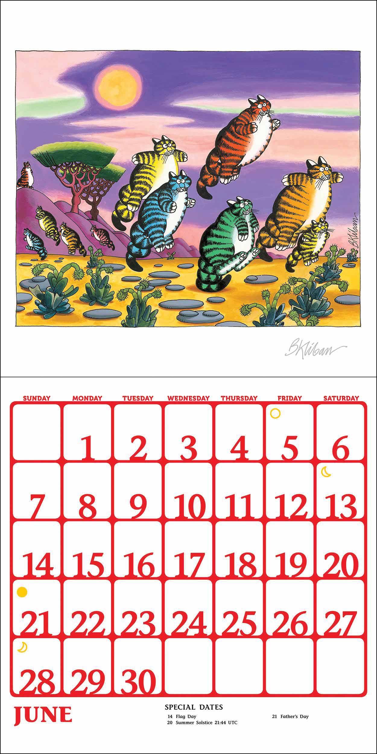 B Kliban Cat Stickers Calendar 2020