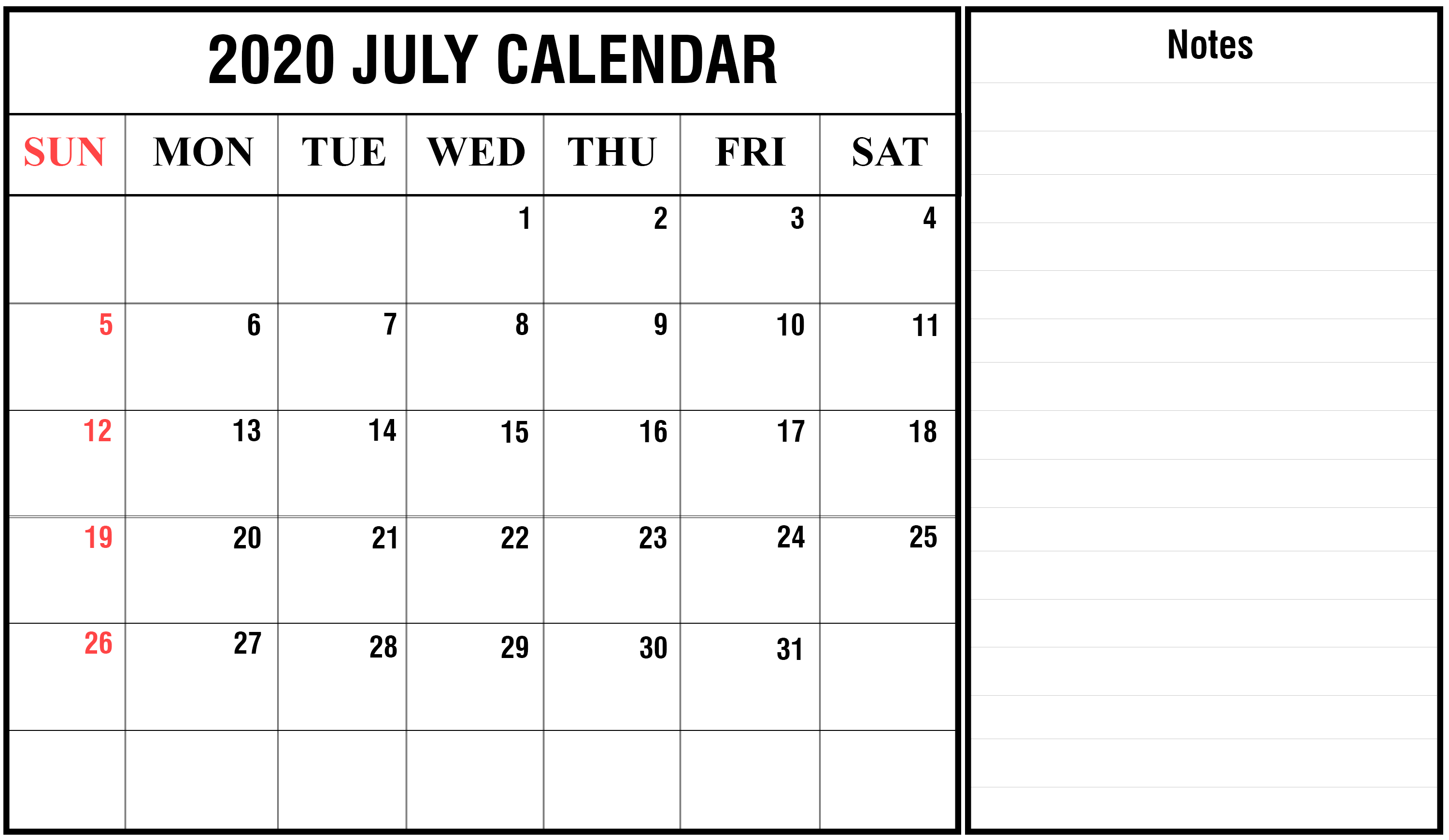 Best Monthly Blank Calendar For July 2020 Printable Template