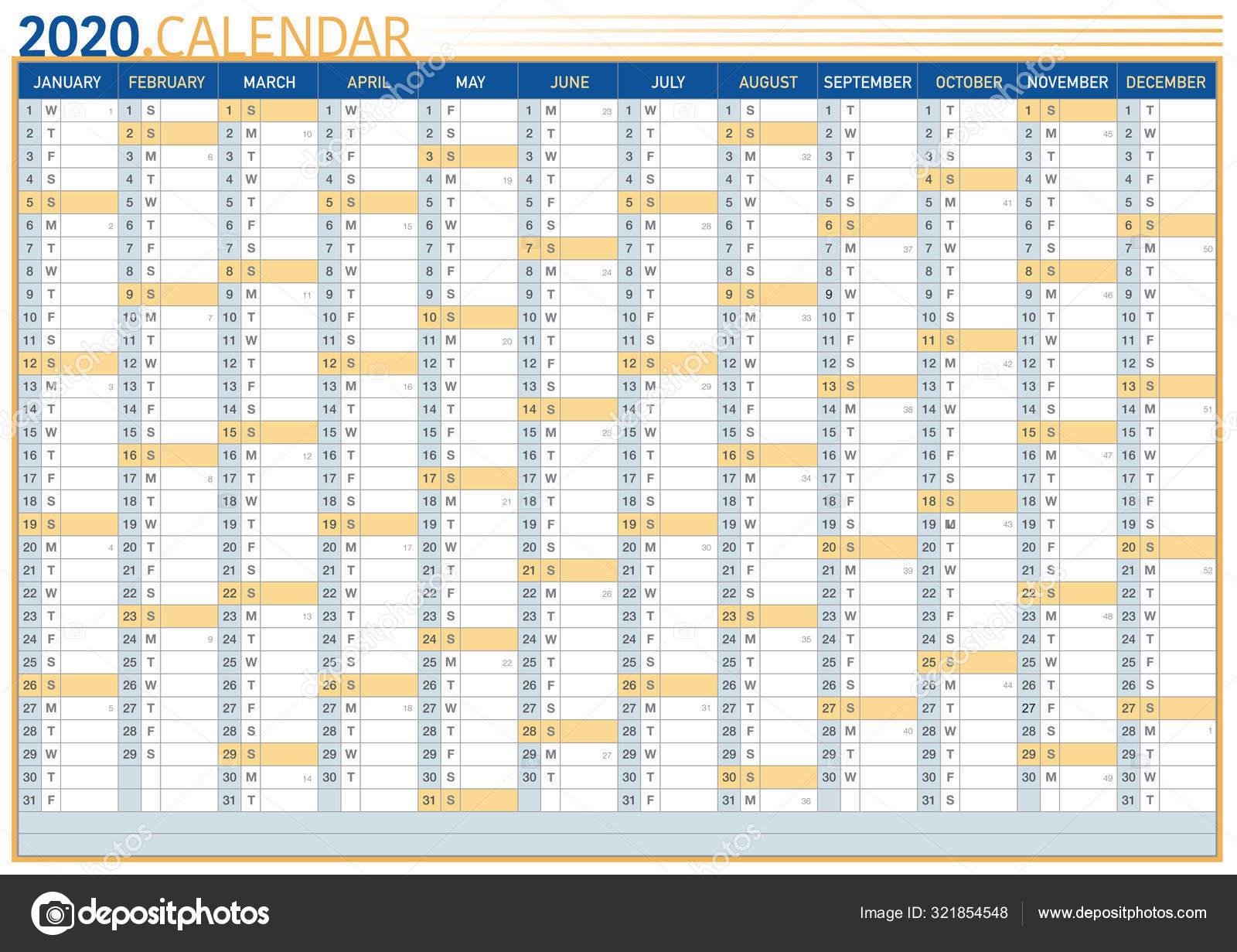Big Commercial Wall Calendar 2020 — Stock Vector